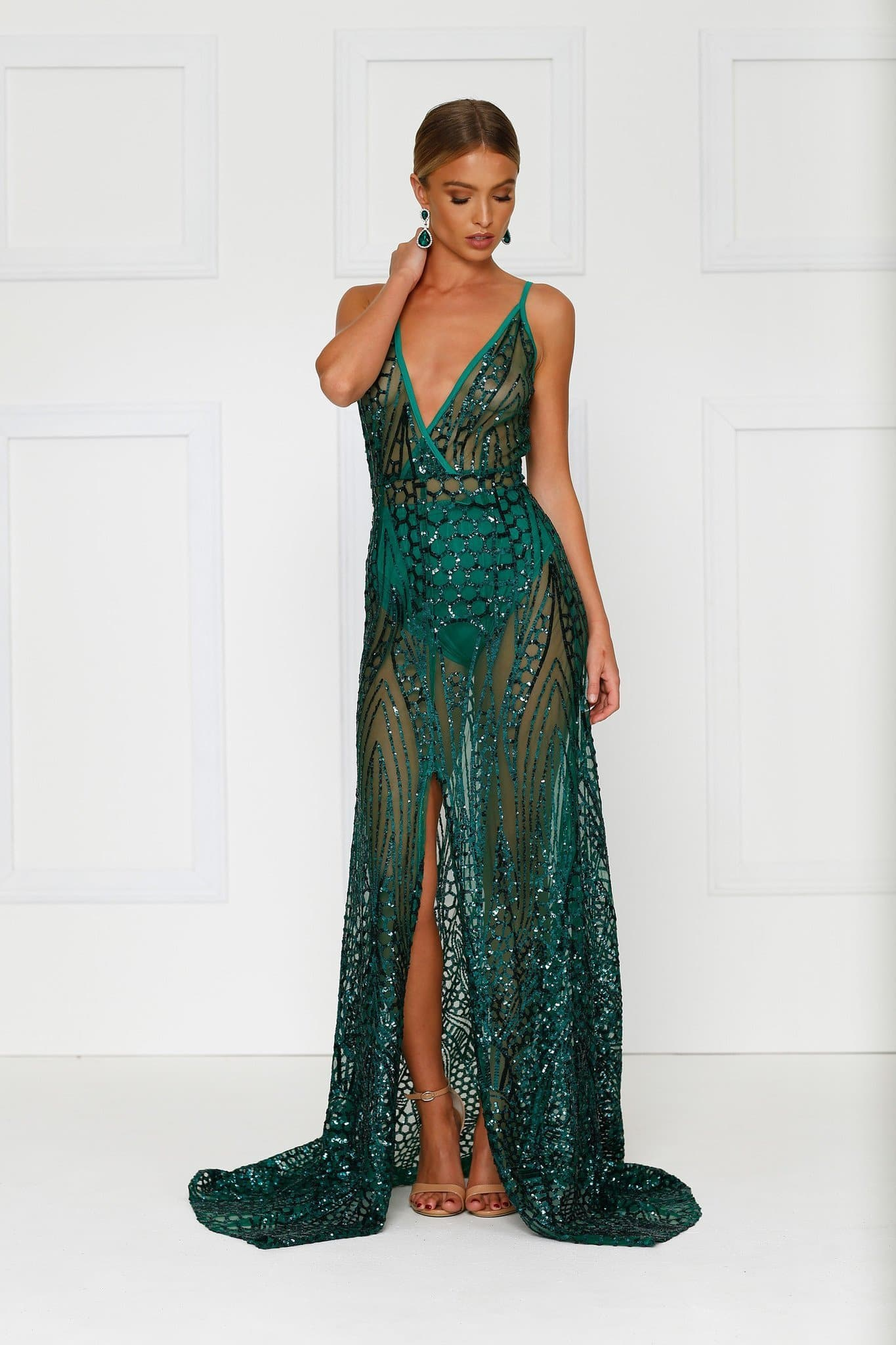 Cristal Gown - Emerald V Neck Dress in Sheer Mesh Fabric with Straps