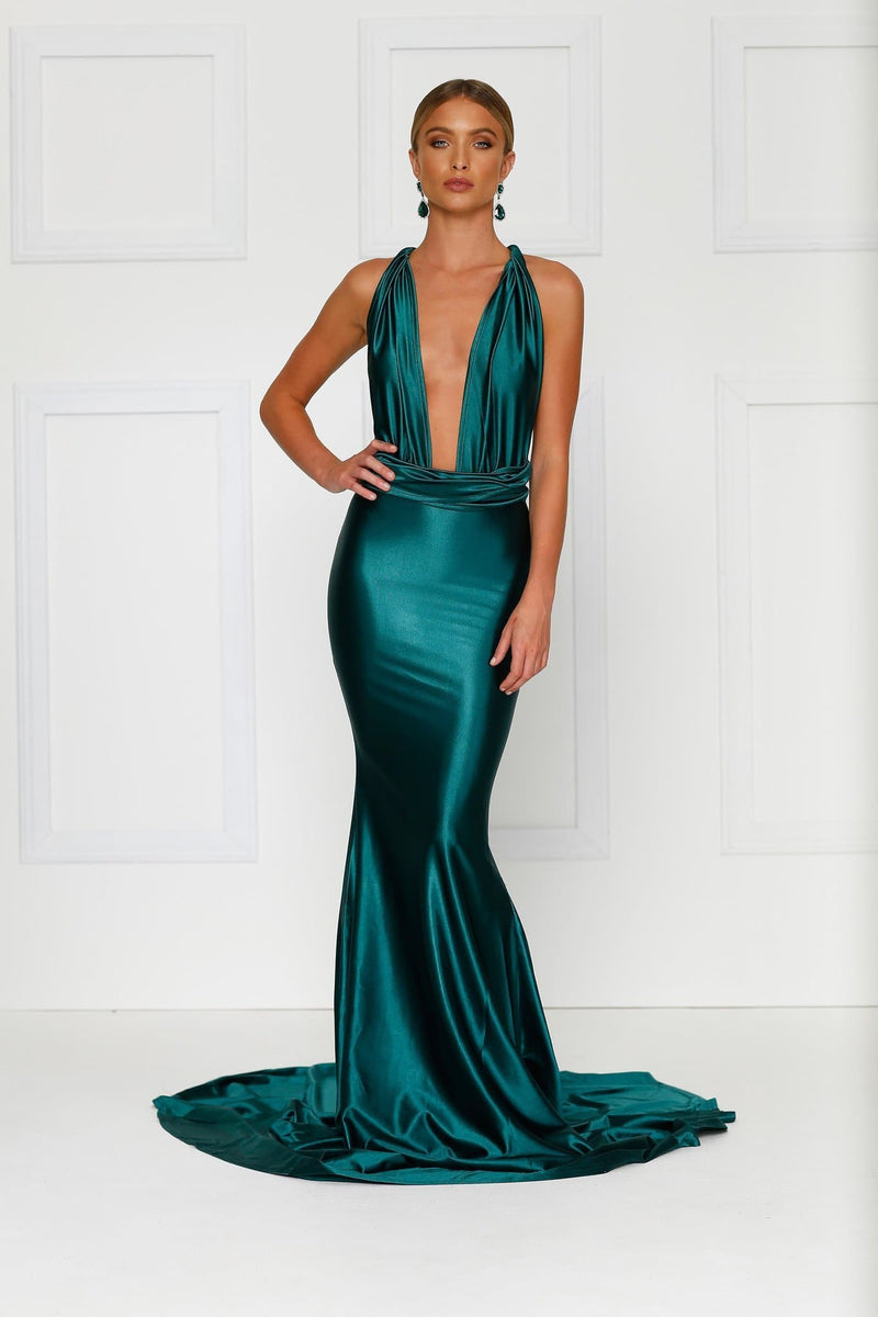 Lena - Emerald Satin Multiway Gown | Deep Plunge Neckline & Low Back