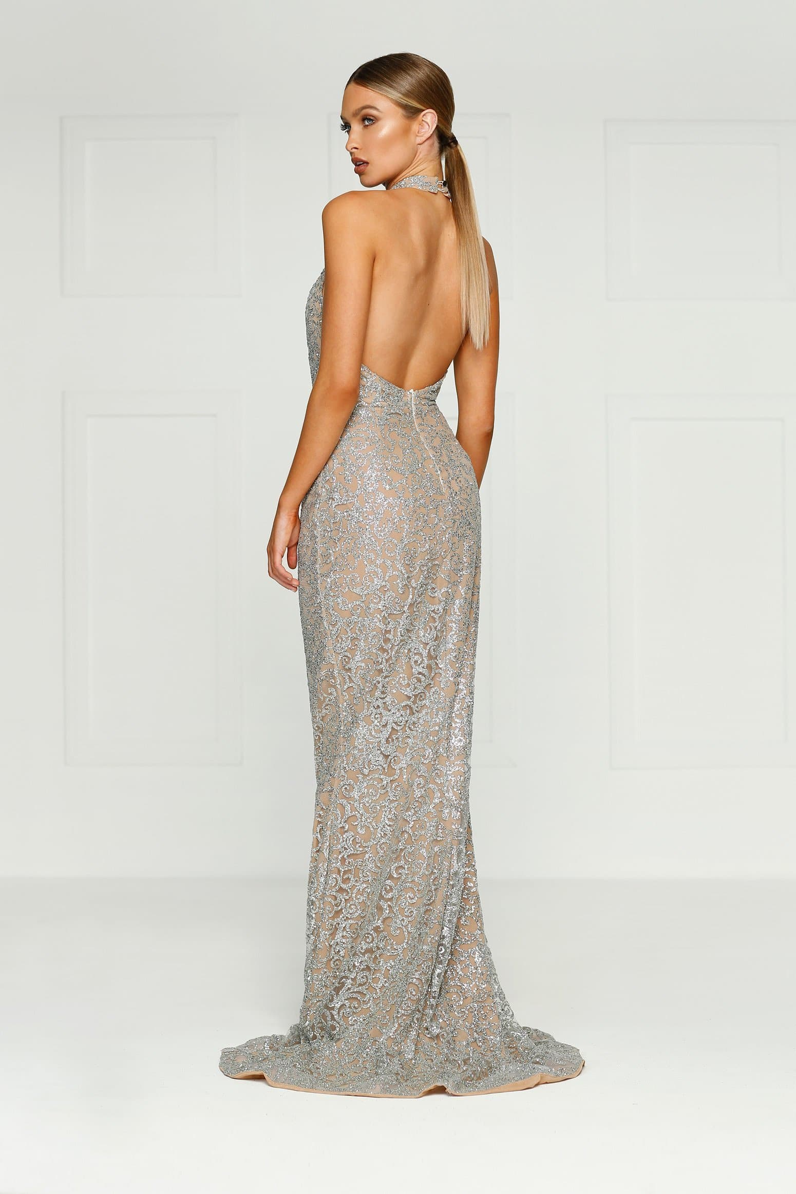 Leilani Gown - Body Con Fit Dress with Sparkling Applique Style