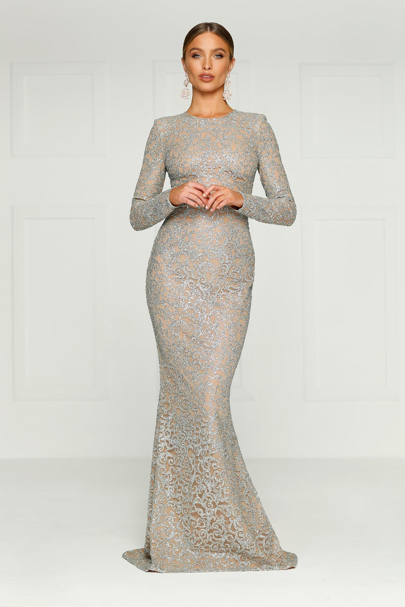 3fcaccc31757 Jolanda - Silver Glitter Gown with Long Sleeves   High Neckline