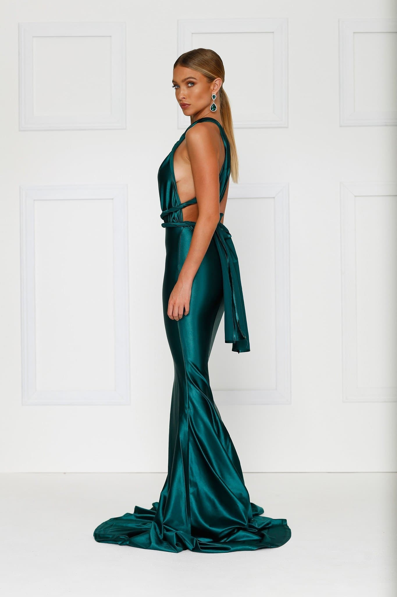 3963094f795 Lena - Emerald Satin Multiway Gown