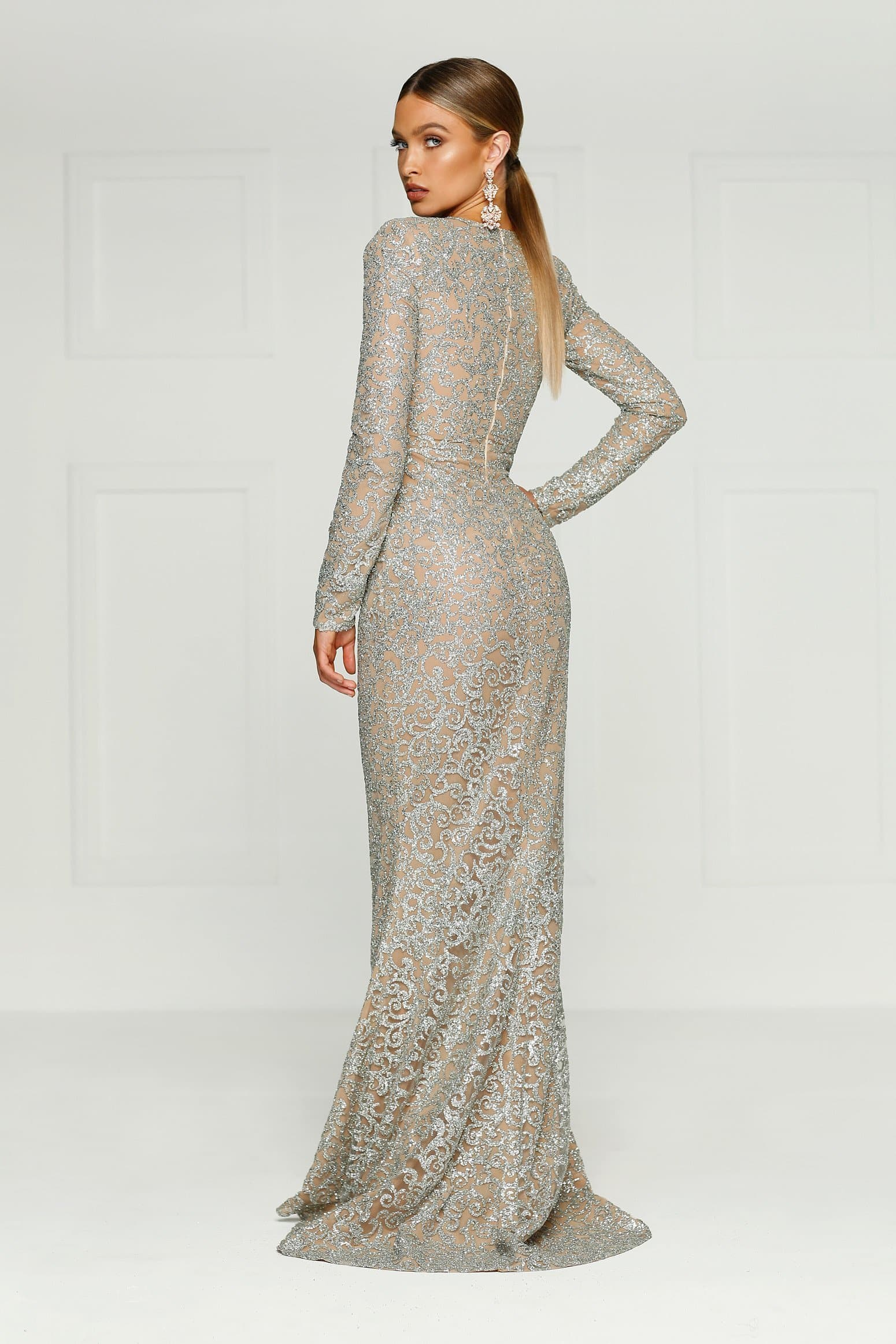 Jolanda Gown - Silver Glitter Long Sleeve High Neck Mermaid Dress