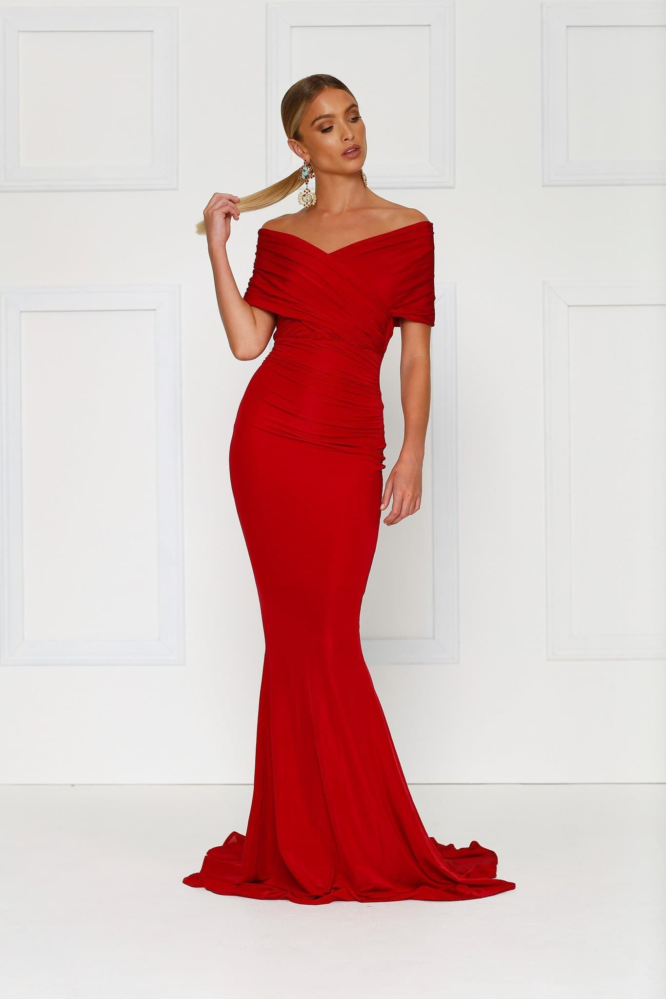 Campanule Off-shoulder Gown - Wine Red