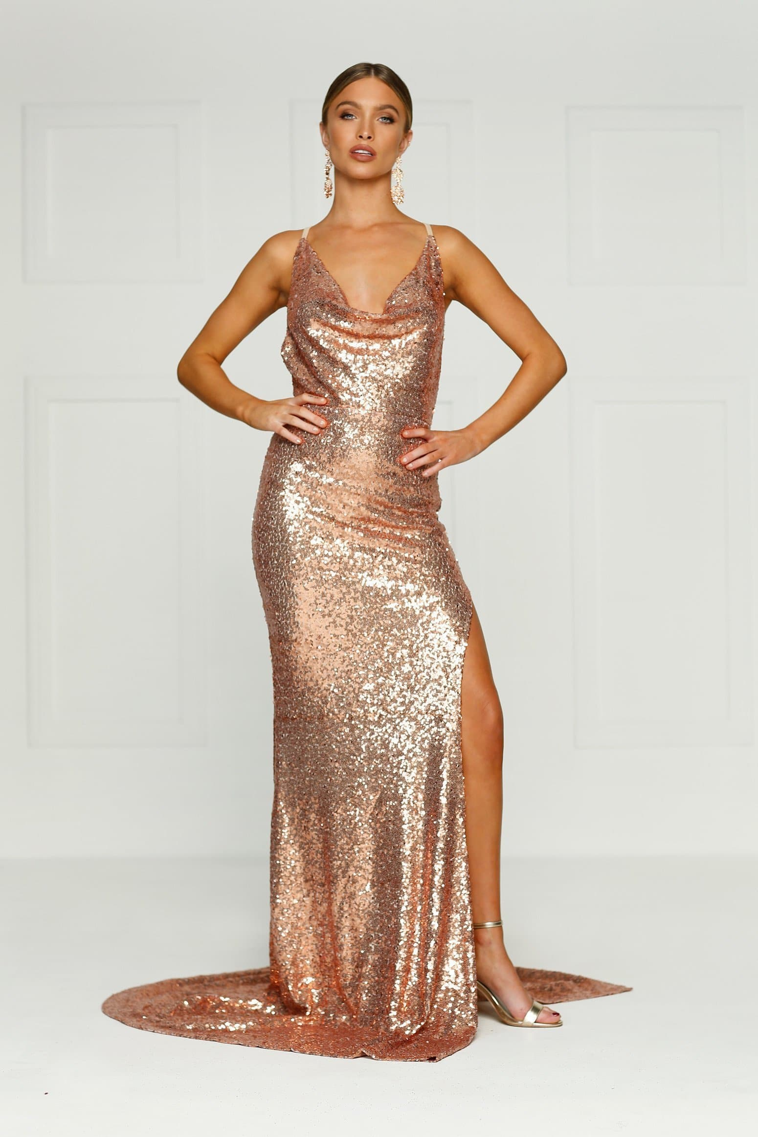 53213e10f7744 Andriana - Rose Gold Sequin Gown with Cowl Neckline   Low Back
