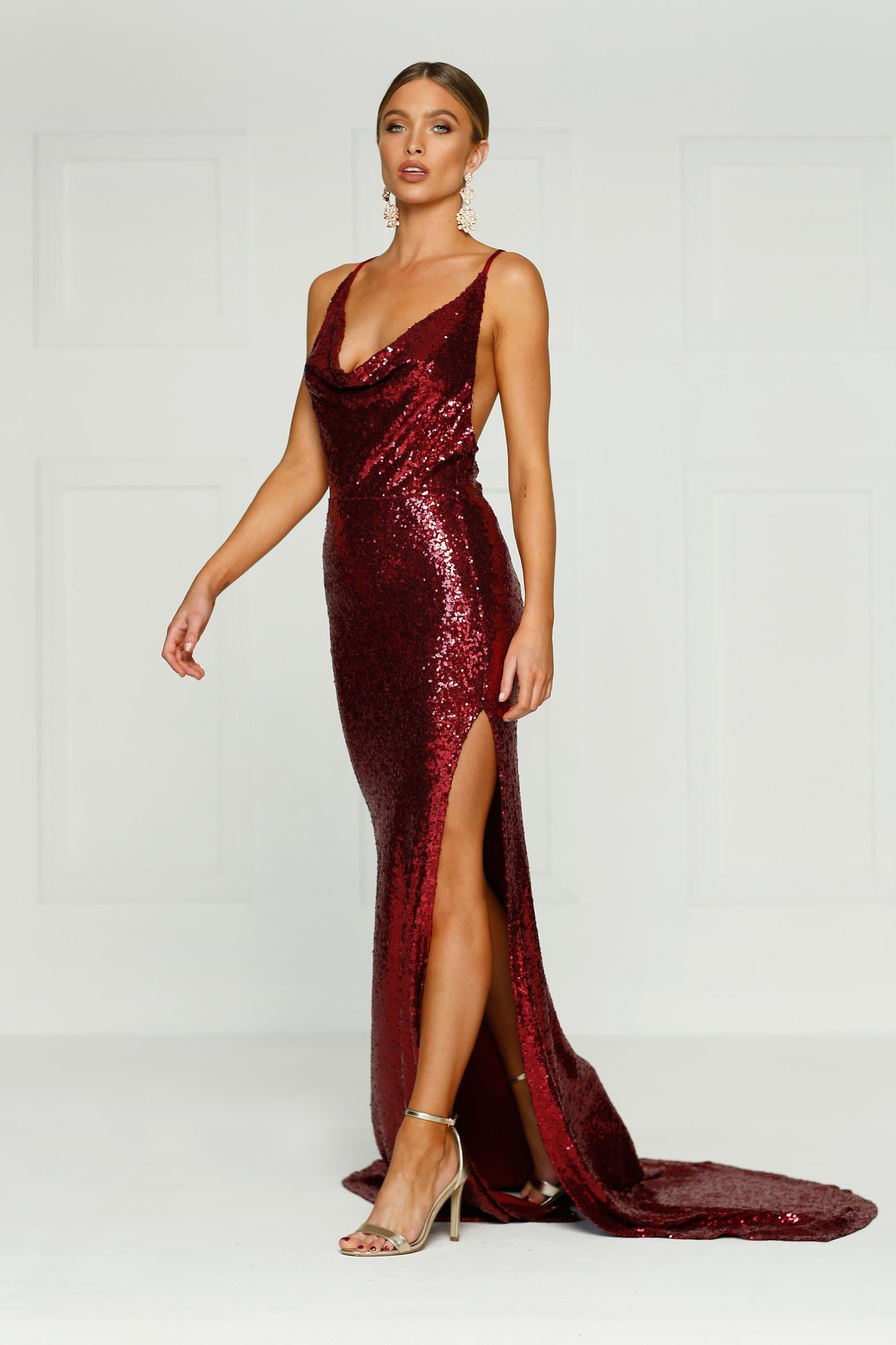 2c079c3436b8 Andriana - Burgundy Sequin Gown with Cowl Neck, Low Back & Side Slit