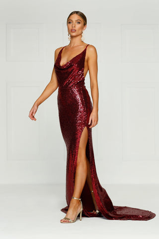 Andriana Gown - Burgundy Sequins Low Back Dress with Cowl Neckline
