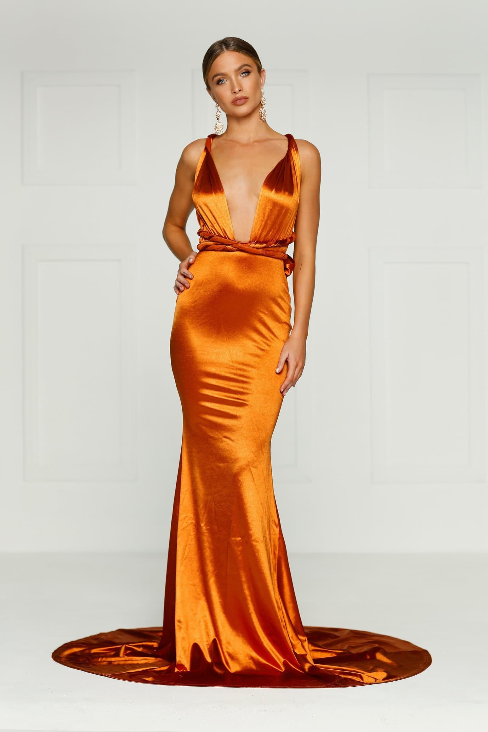 Lena Multiway Gown - Gold Rust Prom Dress in Satin Fabric
