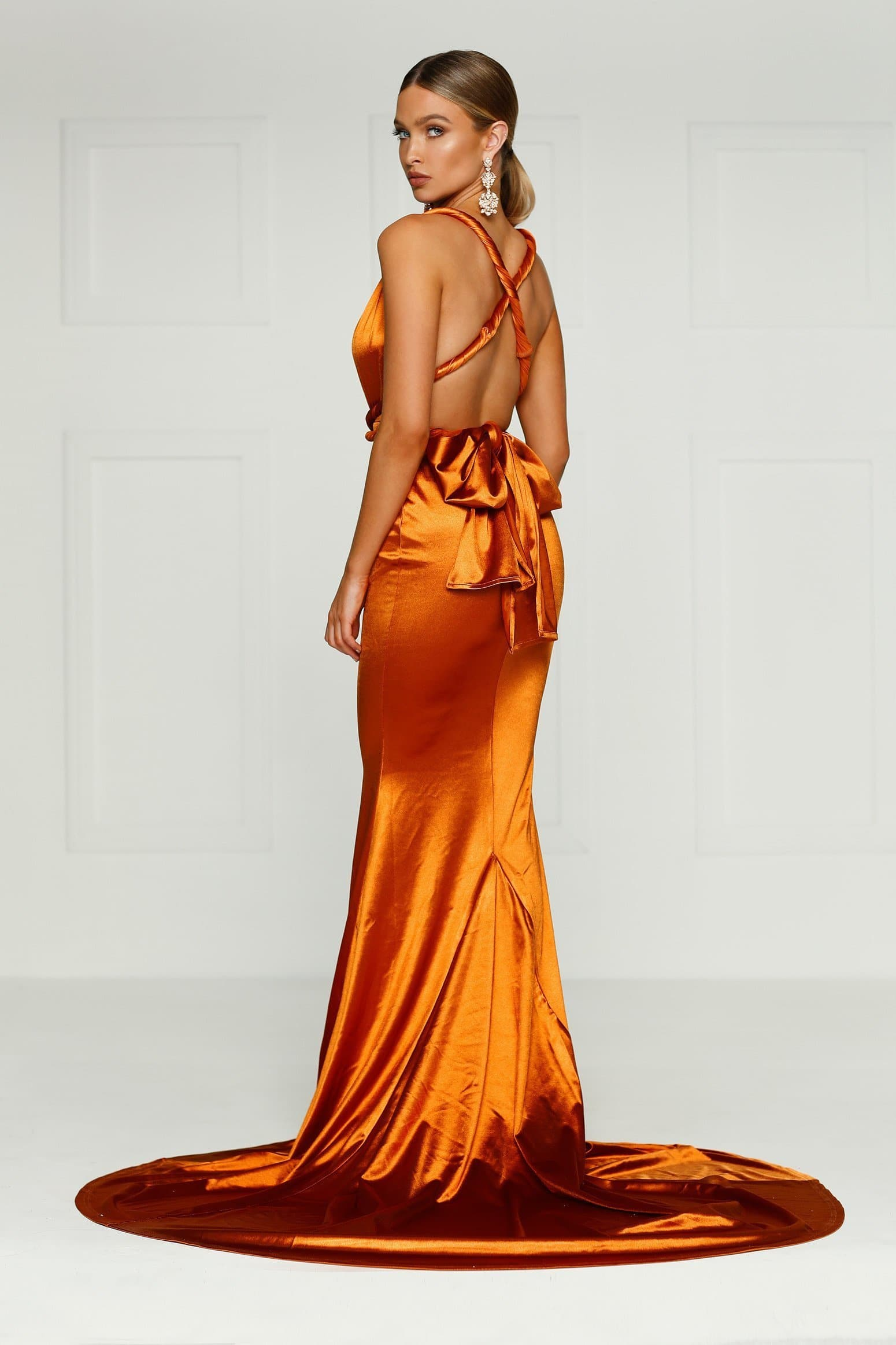 Lena - Gold Rust Satin Multiway Gown with Plunging Neckline