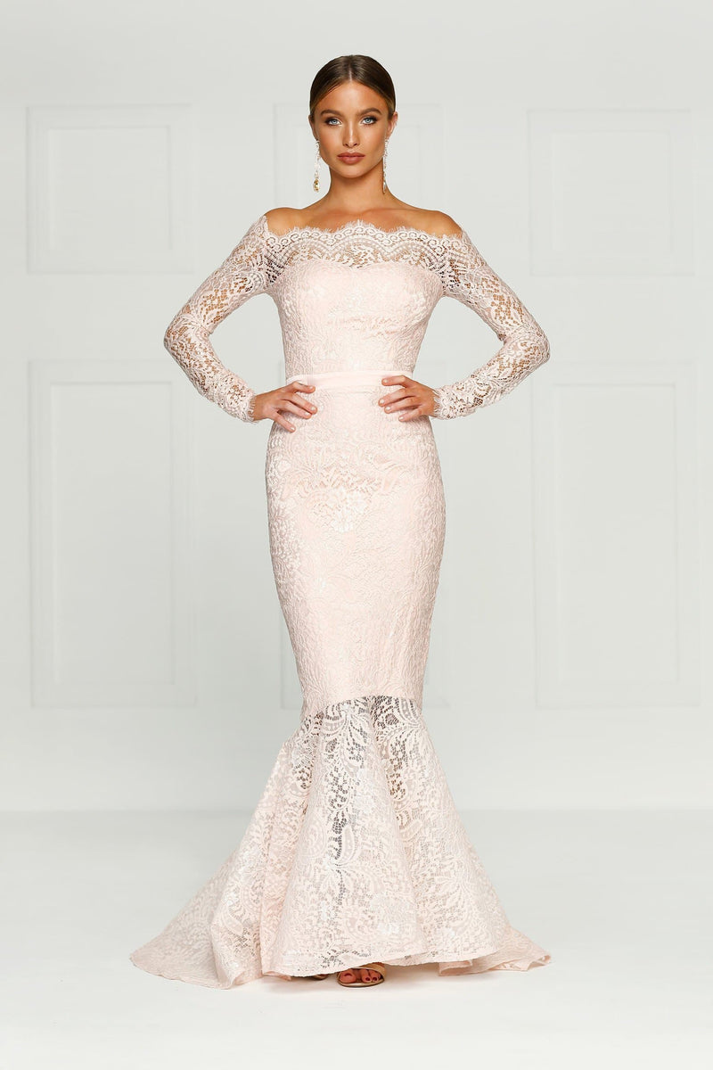 c09353f657ff Kamali - Baby Pink Lace Formal Gown with Off-Shoulder Long Sleeves