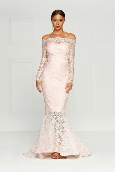 Kamali Gown - Baby Pink Lace Off Shoulder Long Sleeve Mermaid Dress