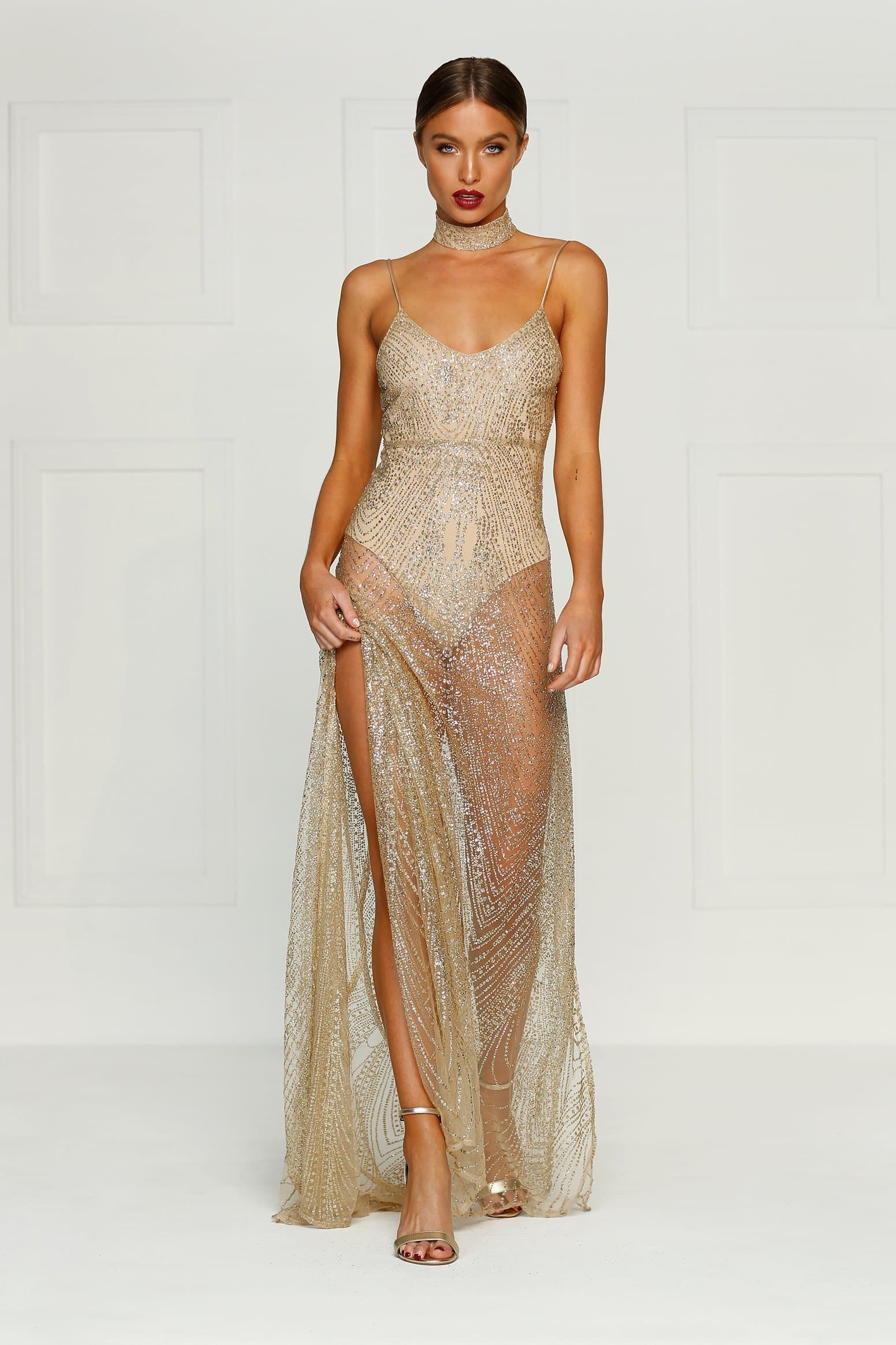 53371770628 Jewels Gown - Gold Evening Dress Made from Satin Fabric - Preorder