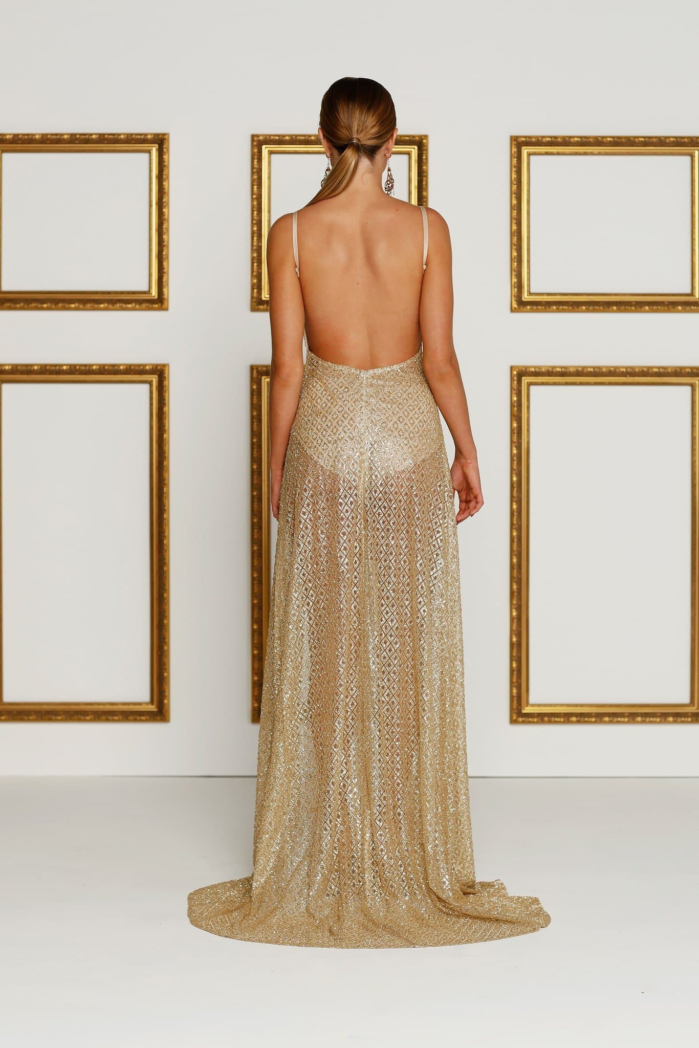 Gold Sheer Sequin Evening Gown Prom Formal Dress Two Sexy Slits Mermaid Train Rozay Luxe