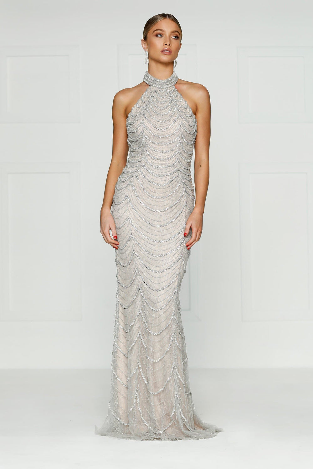 Mallory - Sleeveless Beaded Gown with Halter Neck & Open Back