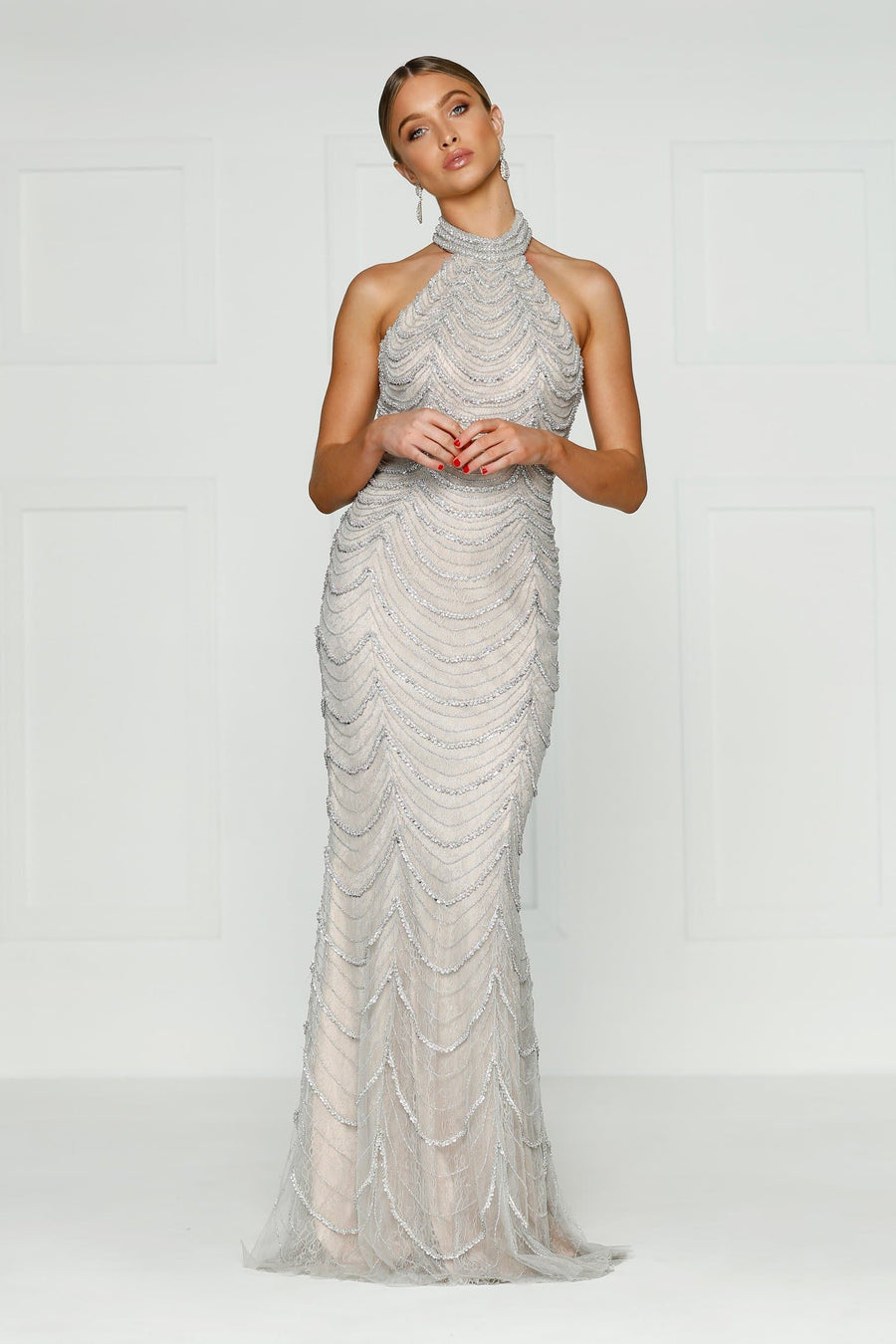 Silver/White Halter Neck Beaded Couture With Open Back - Mallory Beaded Gown