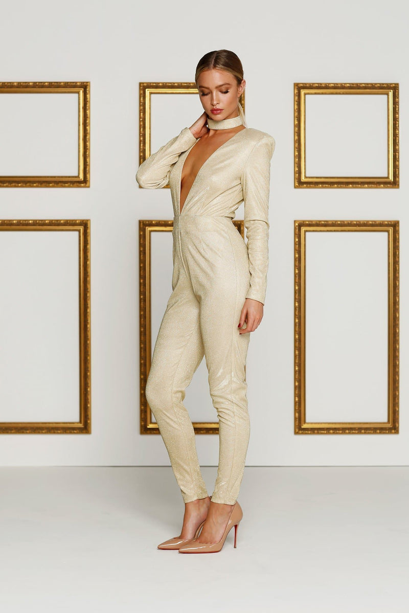 Meiray - Gold Jumpsuit Made From Curve Hugging Fabric with Plunge Neck