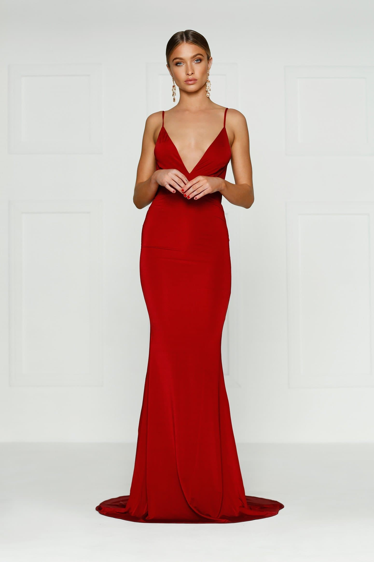 2f07960ca5a Selina - Wine Red Backless Jersey Gown with Plunge Neckline