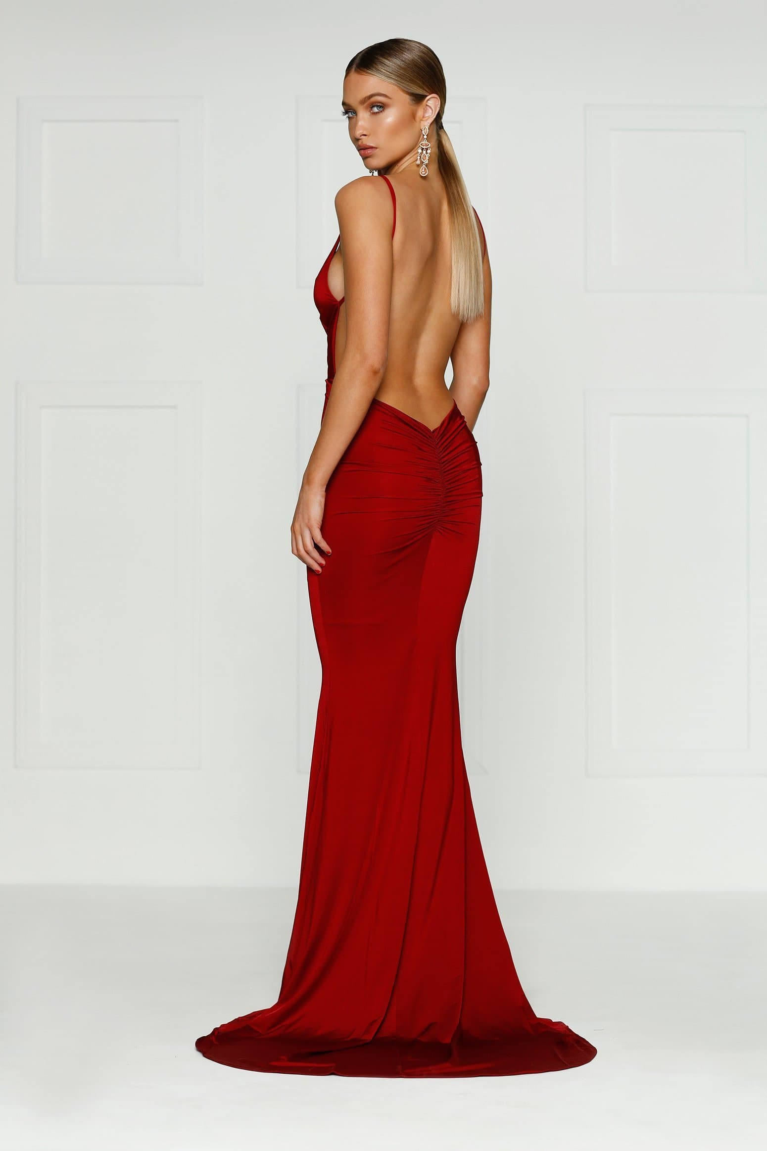 Selina Gown - Wine Red Jersey V Neck Ruched Detail Mermaid Dress