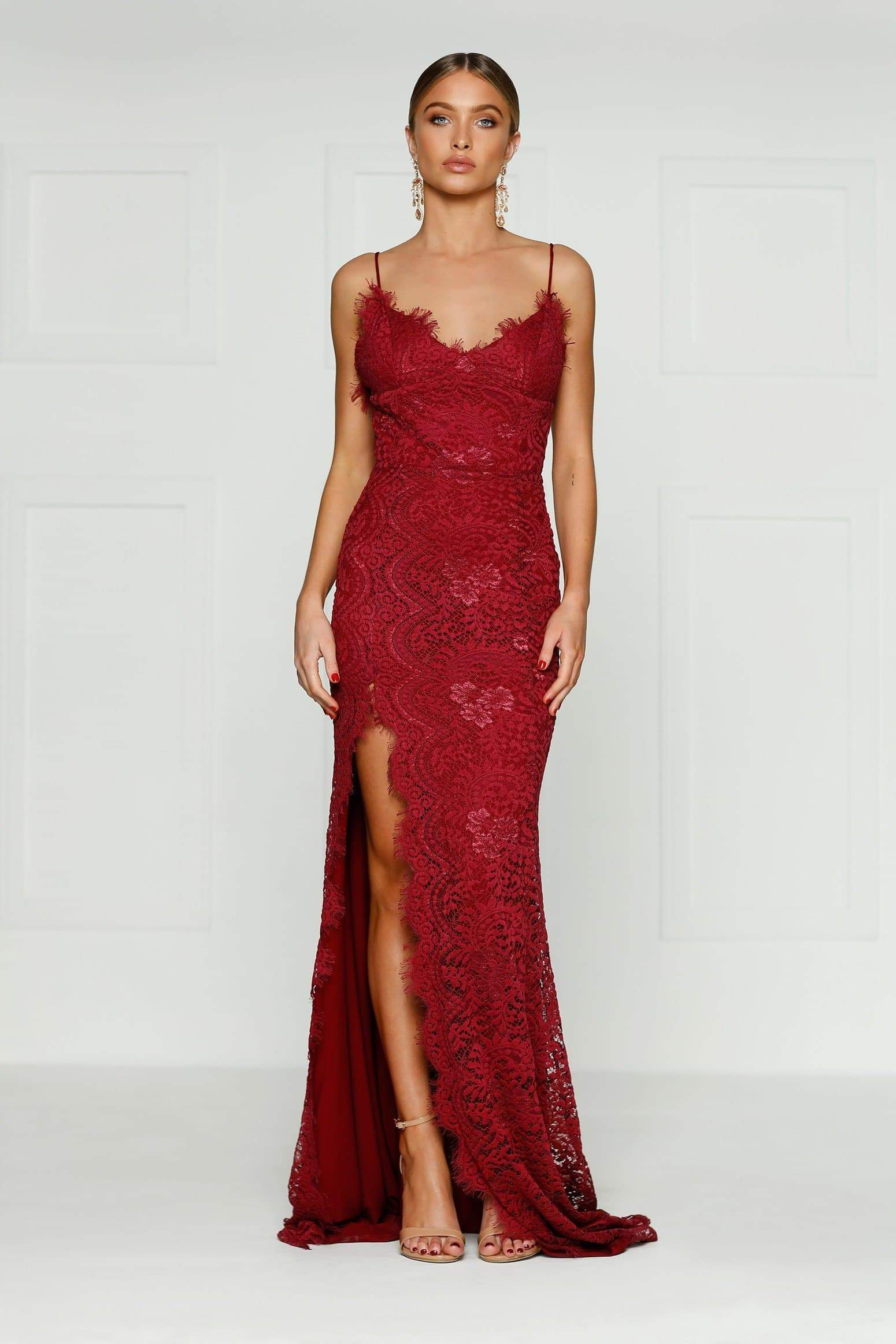 Layali Lace Gown - Burgundy Prom Dress with Lace Overlay