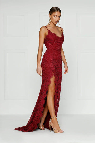 Layali Gown - Burgundy Lace V Neck Low Back Side Slit Long Train Dress
