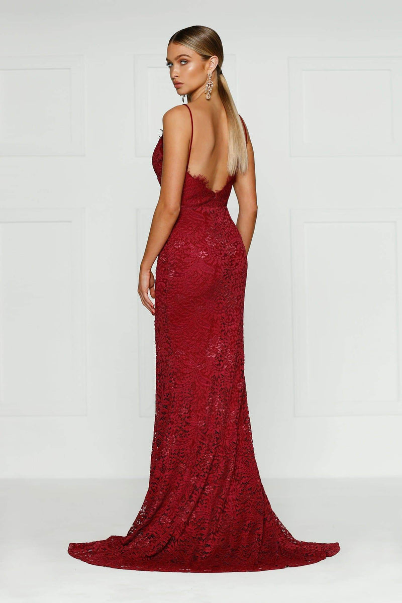Layali - Burgundy Sleeveless Lace Gown with V-Neck & Side Slit