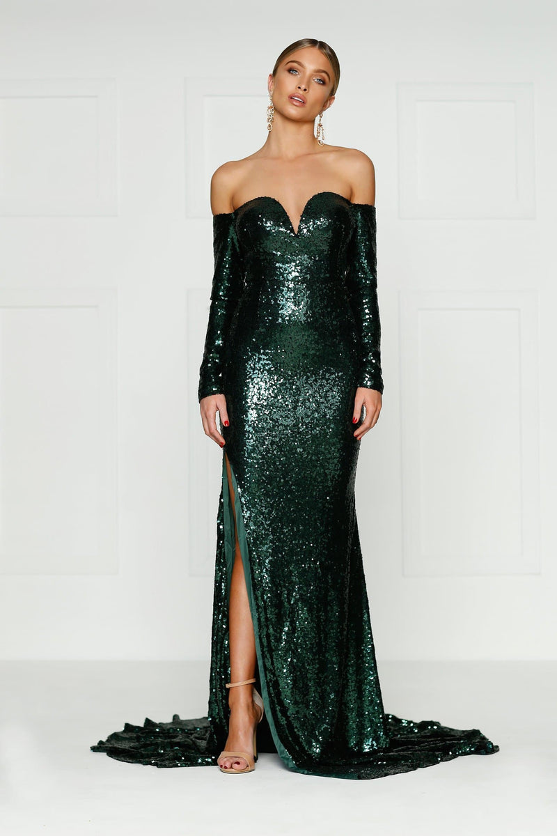 5644033bd0a Diamanda - Emerald Sequin Gown with Long Off-Shoulder Sleeves