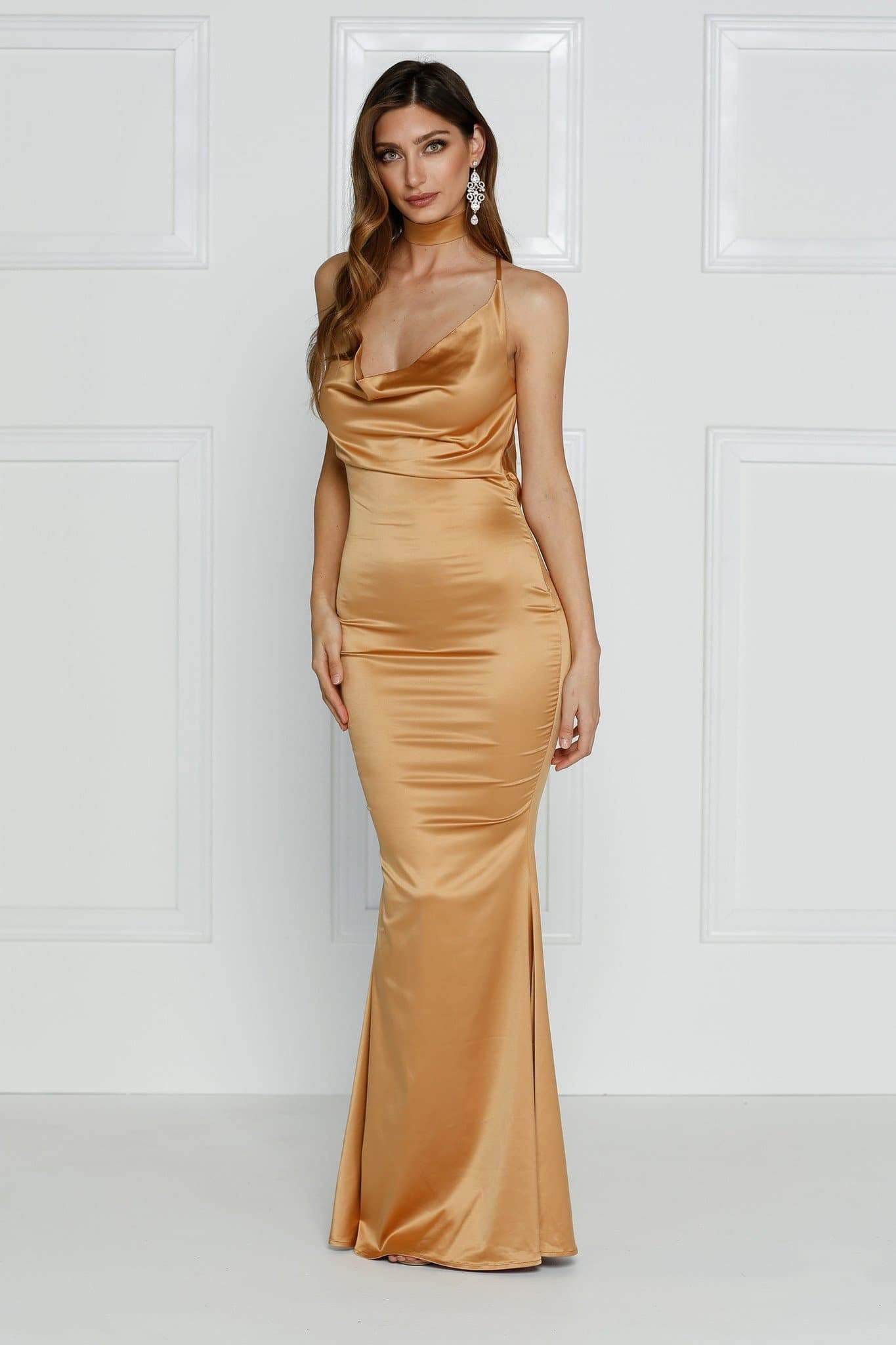 Crisantemi Gown - Gold Satin Cowl Neck Low Back Mermaid Dress