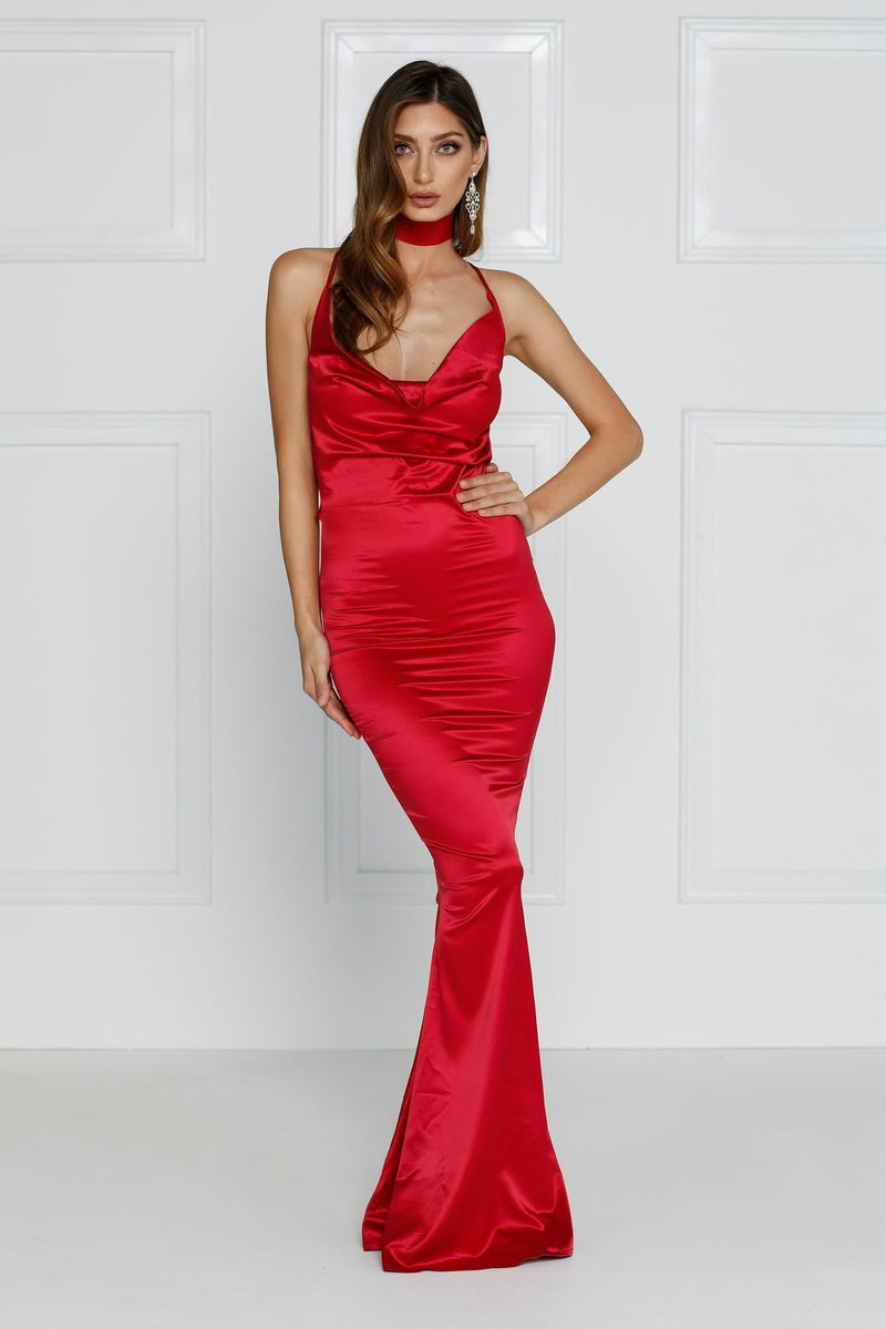 Crisantemi - Cherry Red Satin Gown with Cowl Neckline & Draped Back