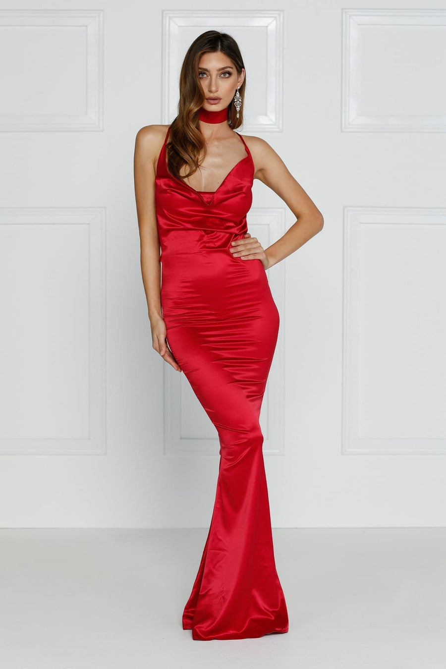 Crisantemi sexy red satin formal dress cowl neckline Alamour the label prom dress formal dress