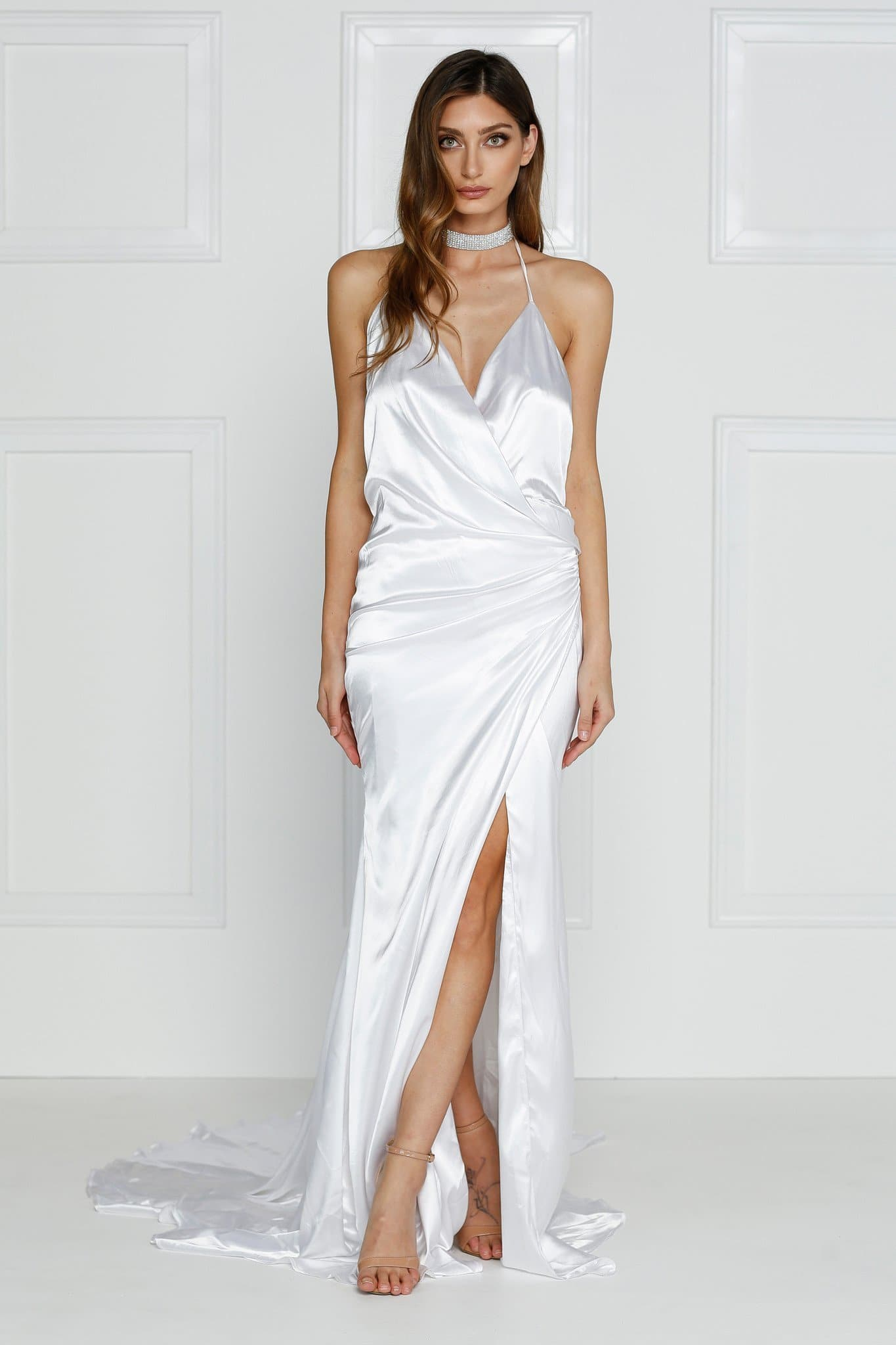 Guinevere Luxe Satin Gown - White V Neck Dress in Double Satin Fabric