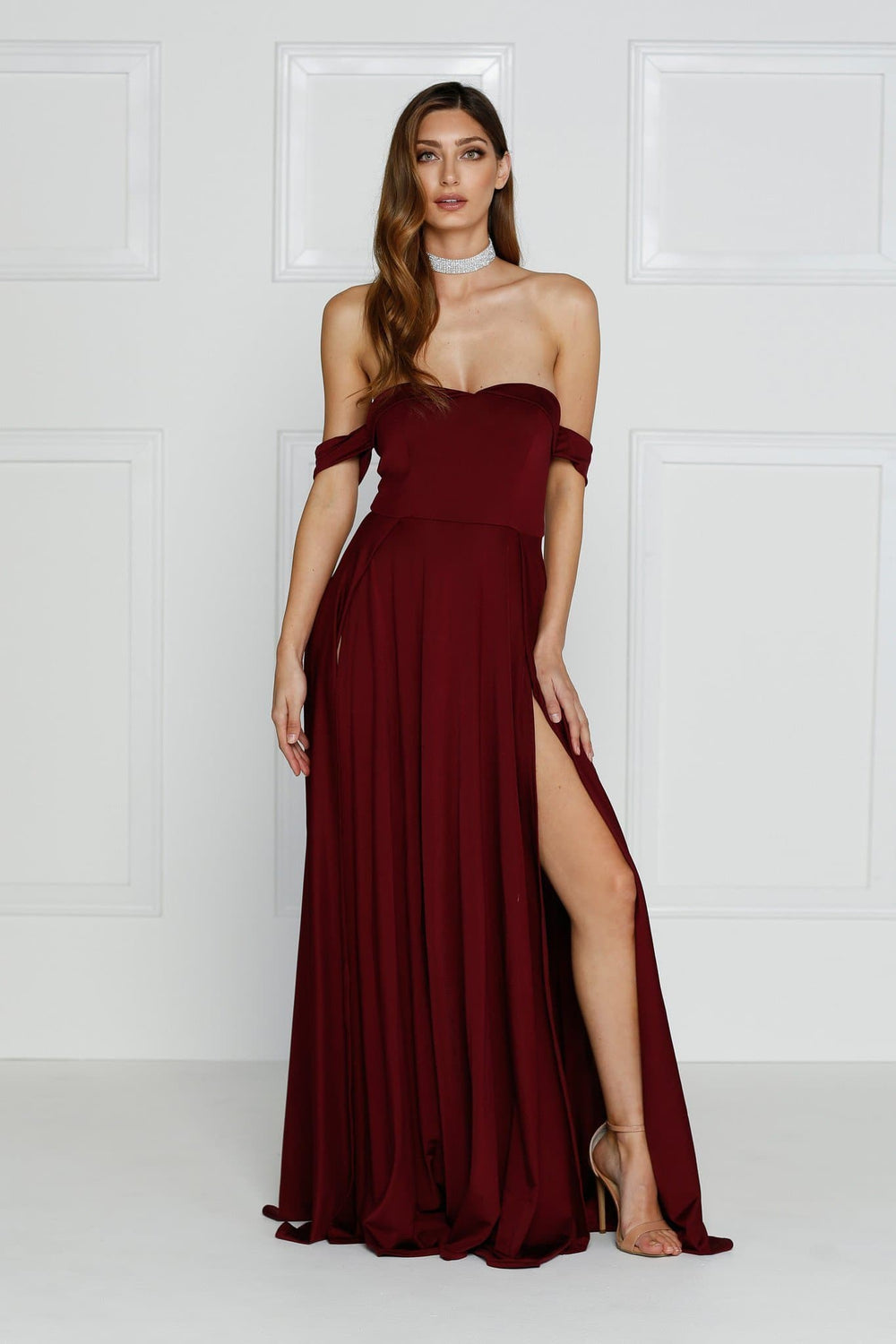 Aravinda - Burgundy Jersey Gown with Off Shoulder Straps & Side Slit