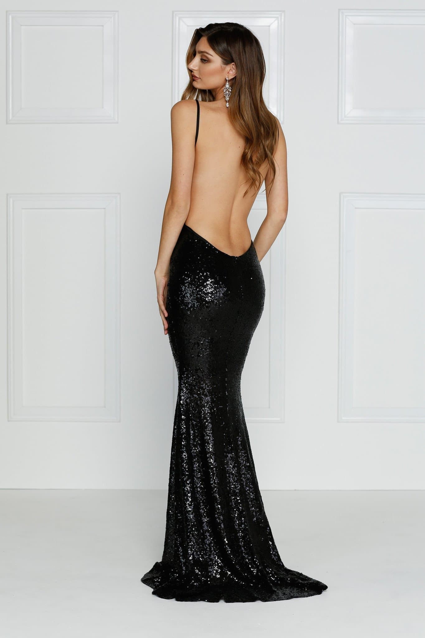 Yassmine Gown - Black Sequin V Neck Open Back Fitted Mermaid Dress