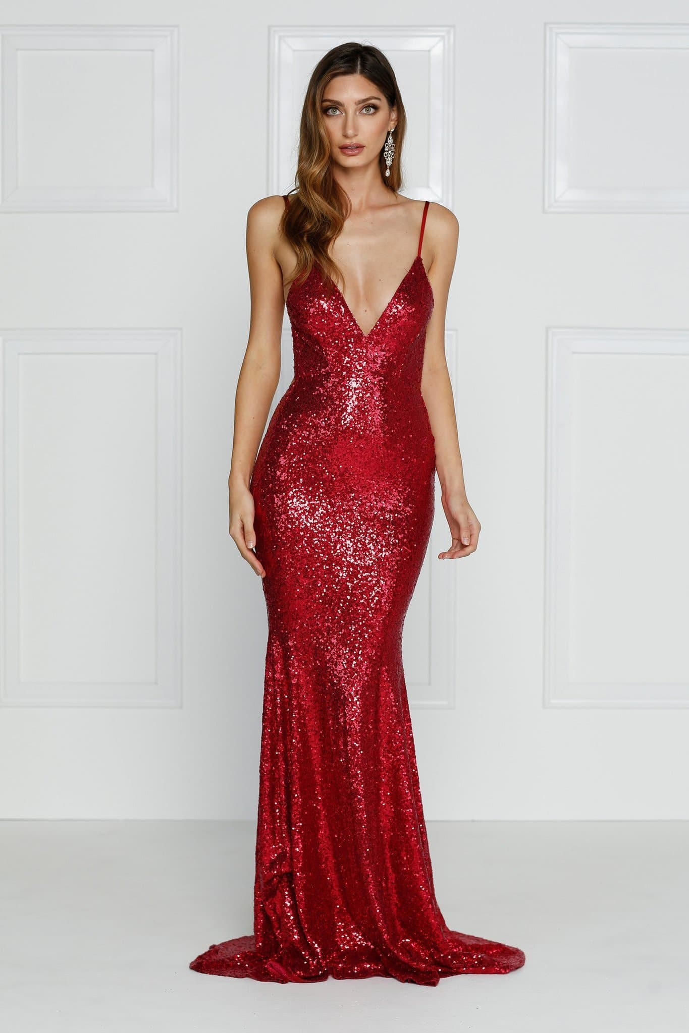 Yassmine - Wine Red Sequin Backless Gown  4663581ee02c