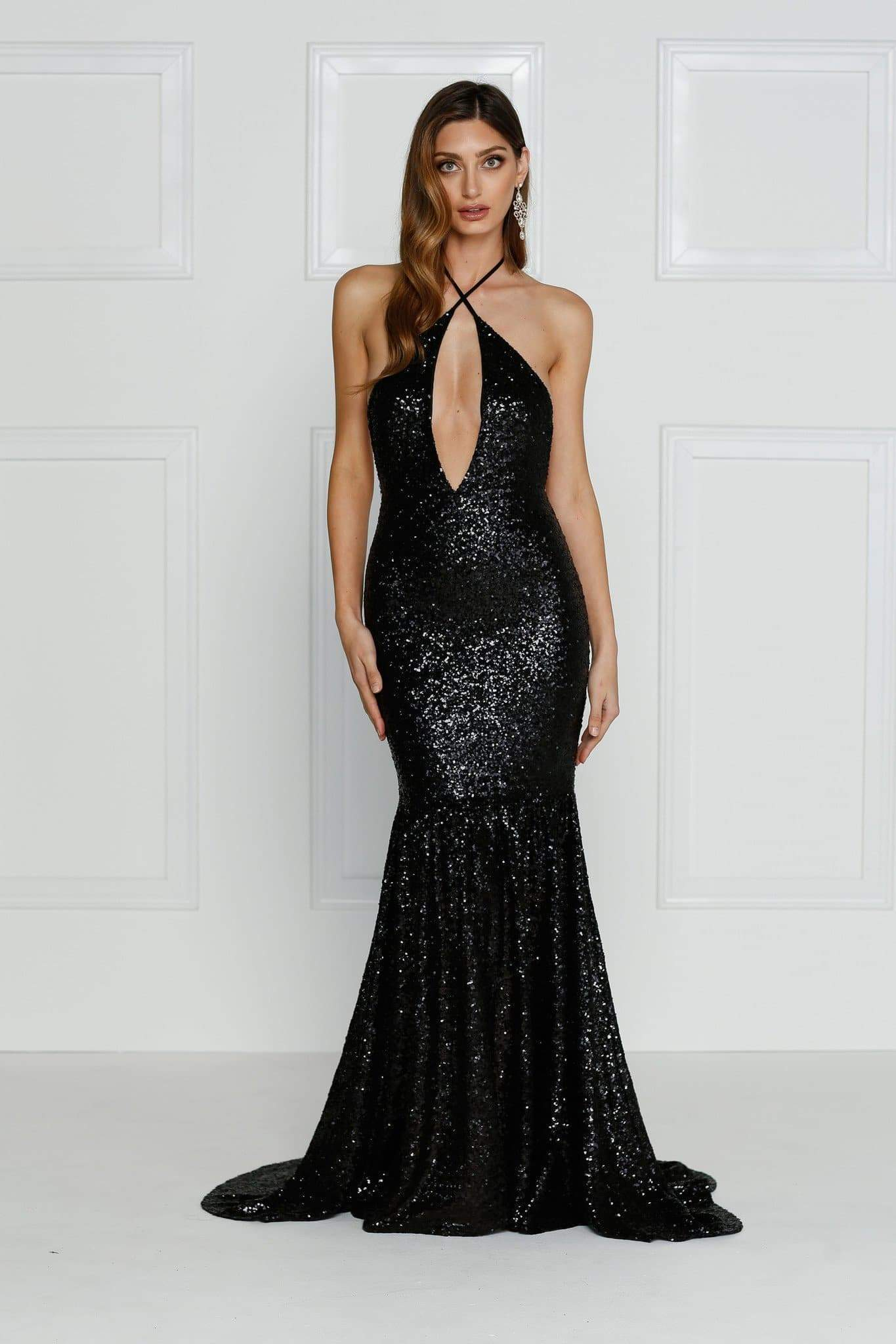 Bolivia - Black Sequin Gown | Plunge Neck, Low Back & Mermaid Train