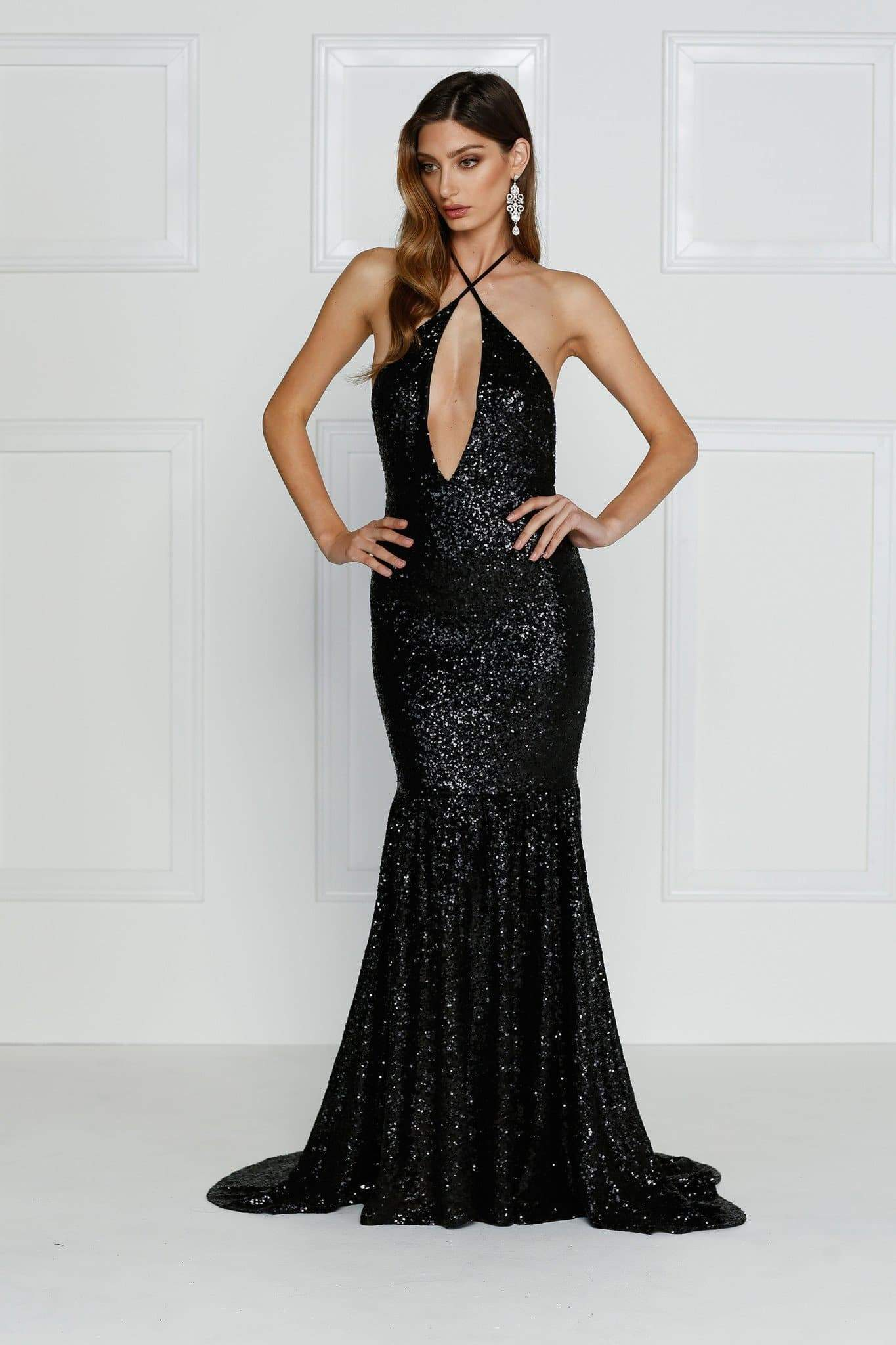 Bolivia Sequins Mermaid Gown - Black