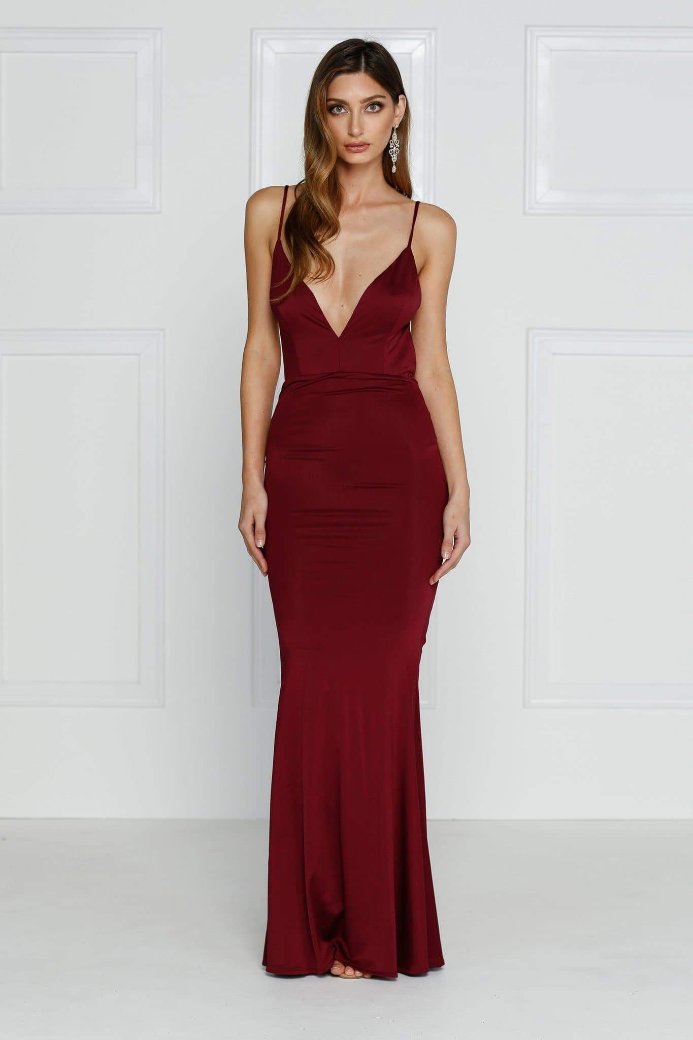 Penelope Luxe - Burgundy Backless Dress with Back Knot Design