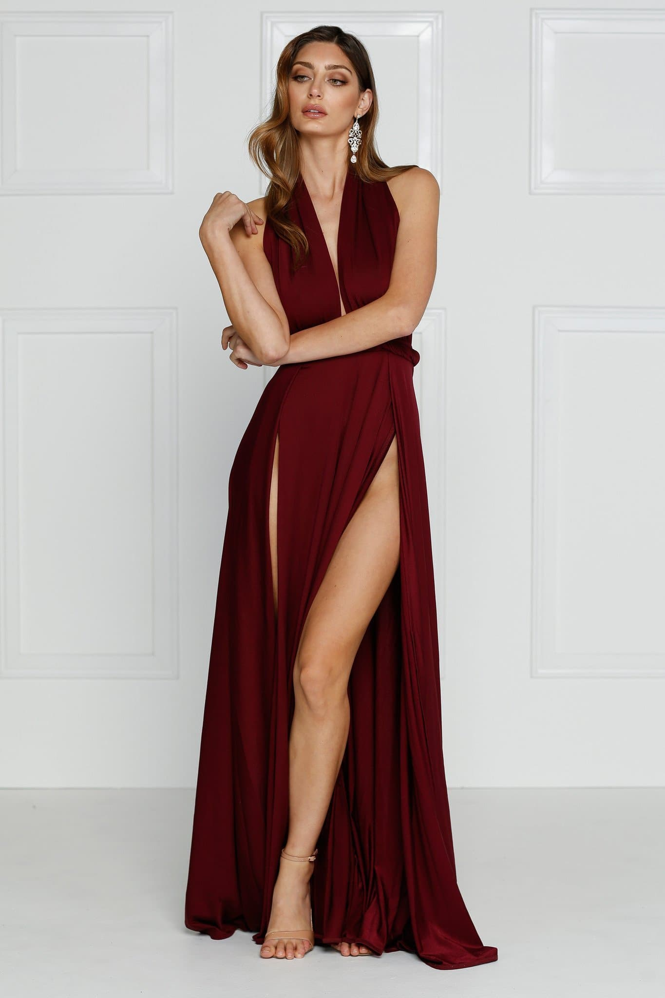 58edd88dfae Catalina Luxe - Burgundy Backless Jersey Gown with Plunge Neckline
