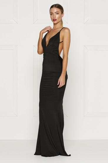 Penelope - Black V Neck Dress with Backless Design & Back Knot Detail