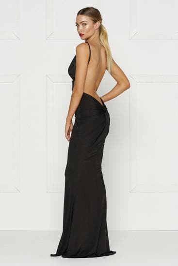black backless dress with a plunging neckline in a stretch fabric. Fitted formal dress prom dress