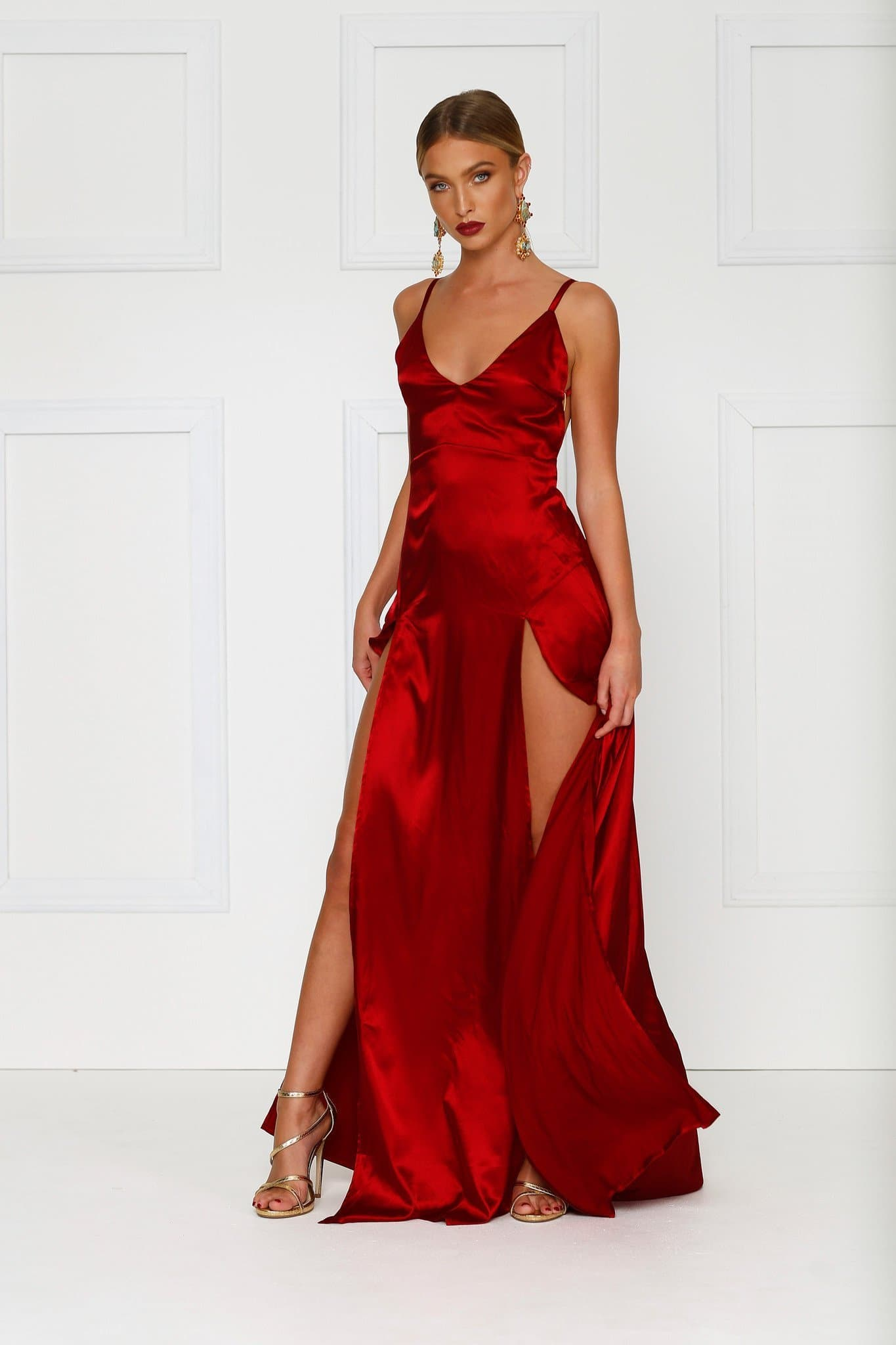 Alexis Wine Red V Neck Dress In Satin With High Splits