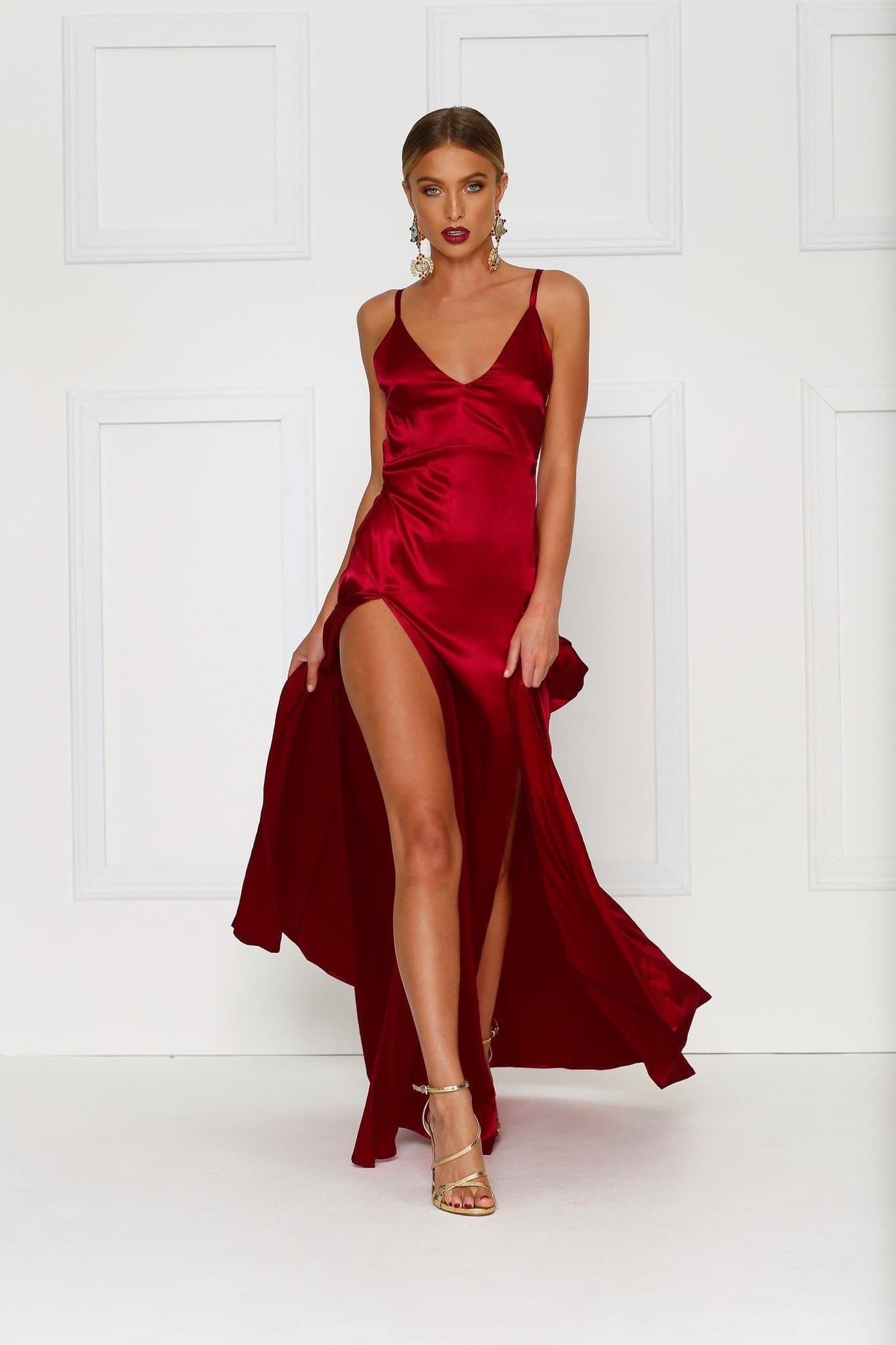 Alexis - Wine Red V Neck Dress in Satin with High Splits