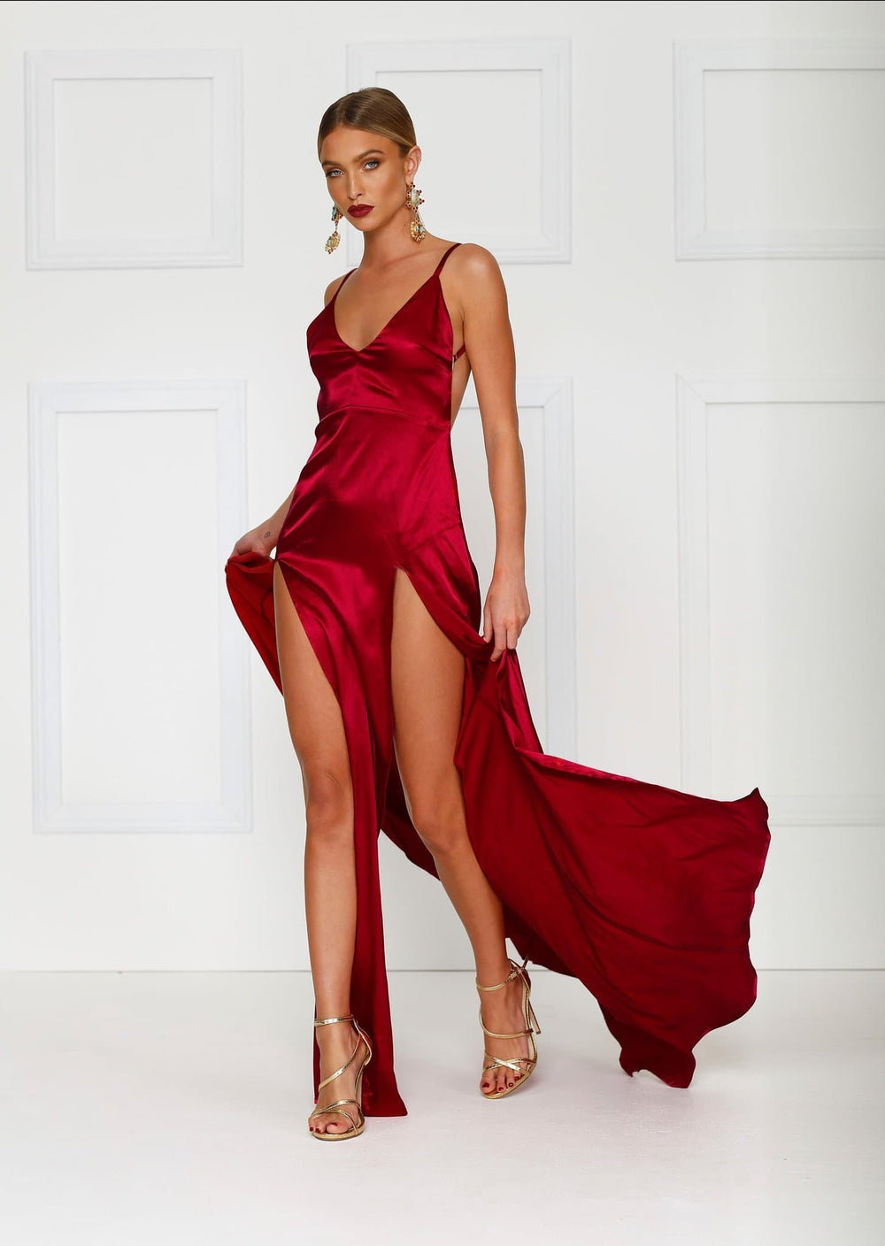 Alexis - Wine Red Satin Gown with V Neckline & Thigh High Slits