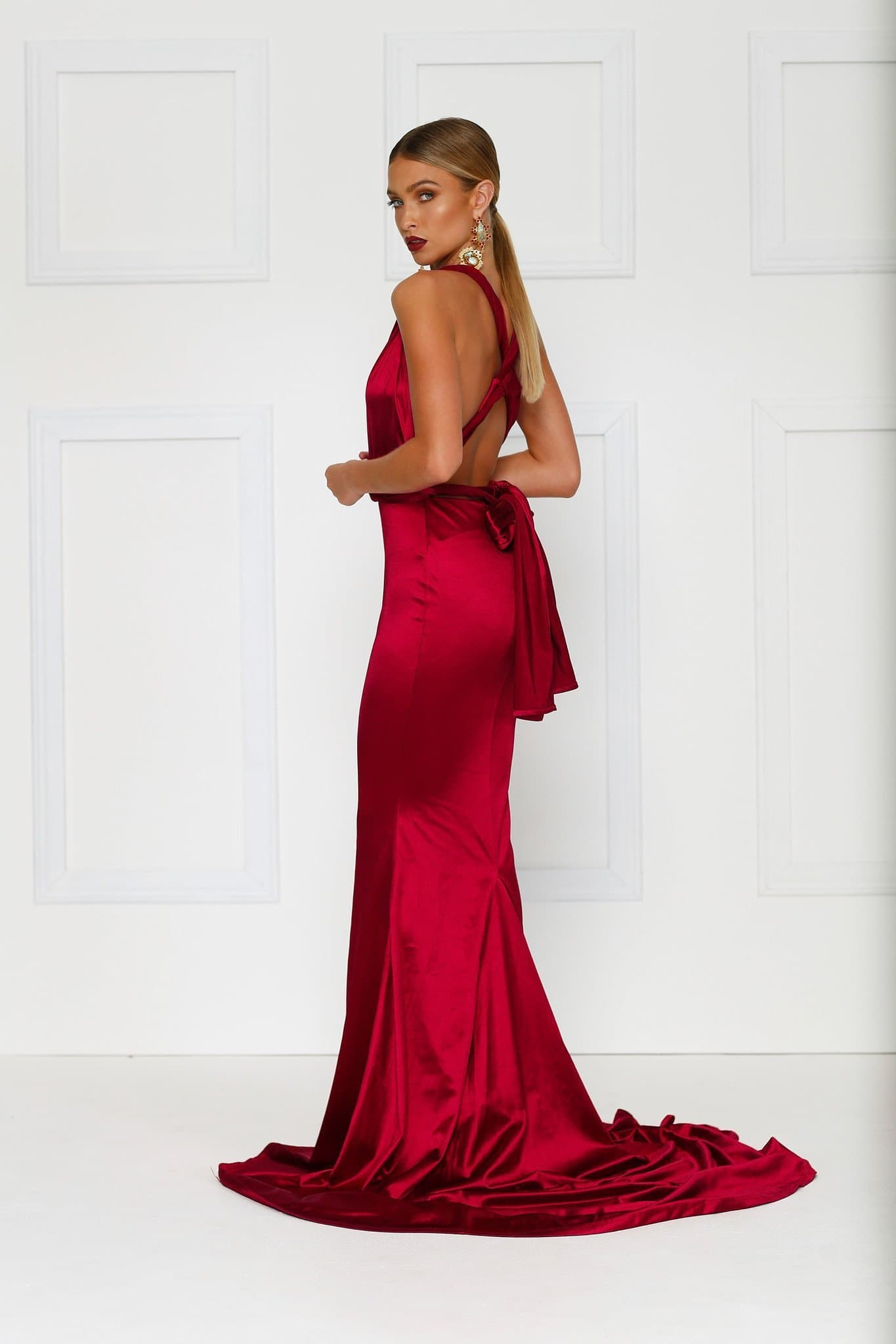 a6bd1f246c8 Lena - Wine Red Satin Multiway Gown with Plunging Neckline   Open Back