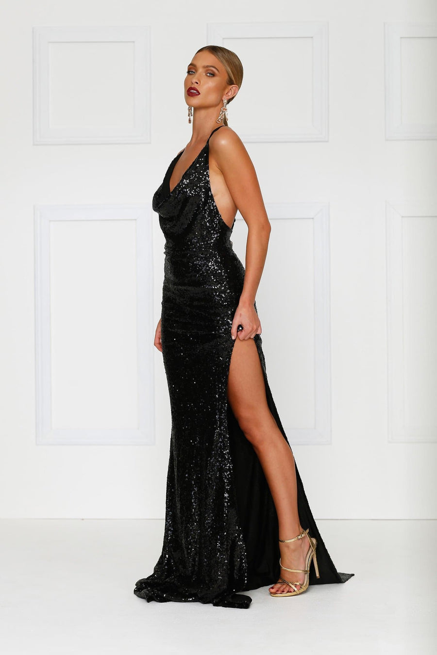 Black Sequins Evening Gown Cowl neckline side leg split, plunging back Alamour The Label