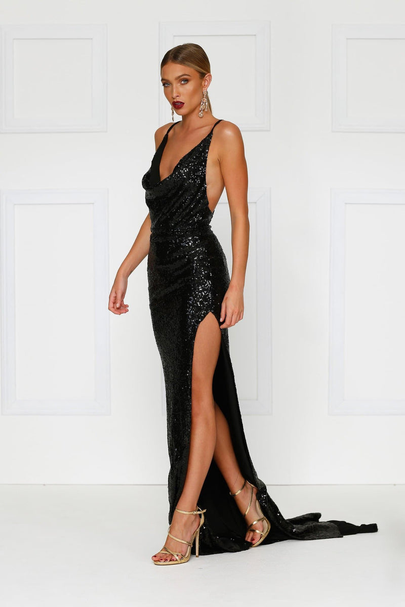 a51eb37db4c5 Andriana - Black Sequin Gown with Cowl Neckline, Low Back & Side Slit