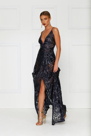 Rosella  Gown - Navy Sequin Sheer V Neck Low Back Slit Dress