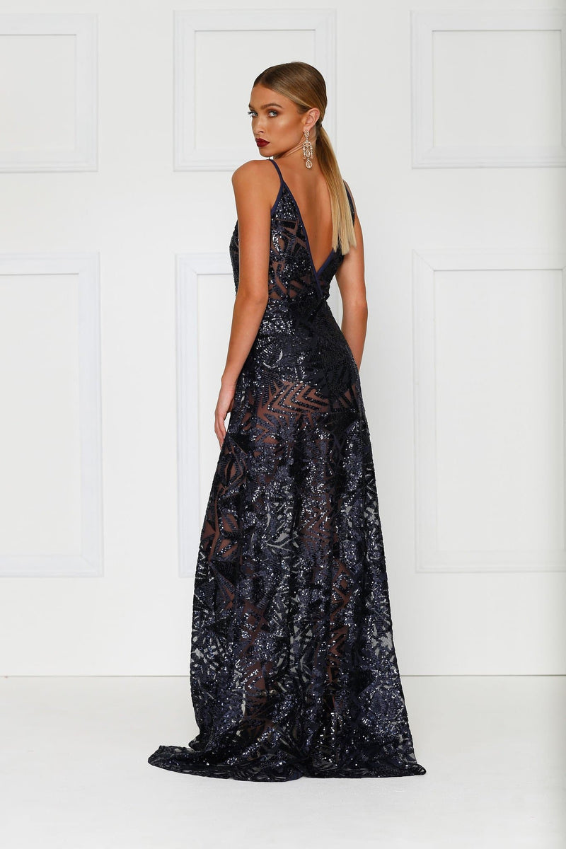 Rosella - Navy Sheer Sequin Gown with Plunge Neck & Open Back