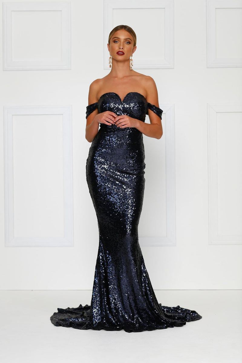 Jonquille - Navy Off Shoulder Sequin Dress with Sweetheart Neckline