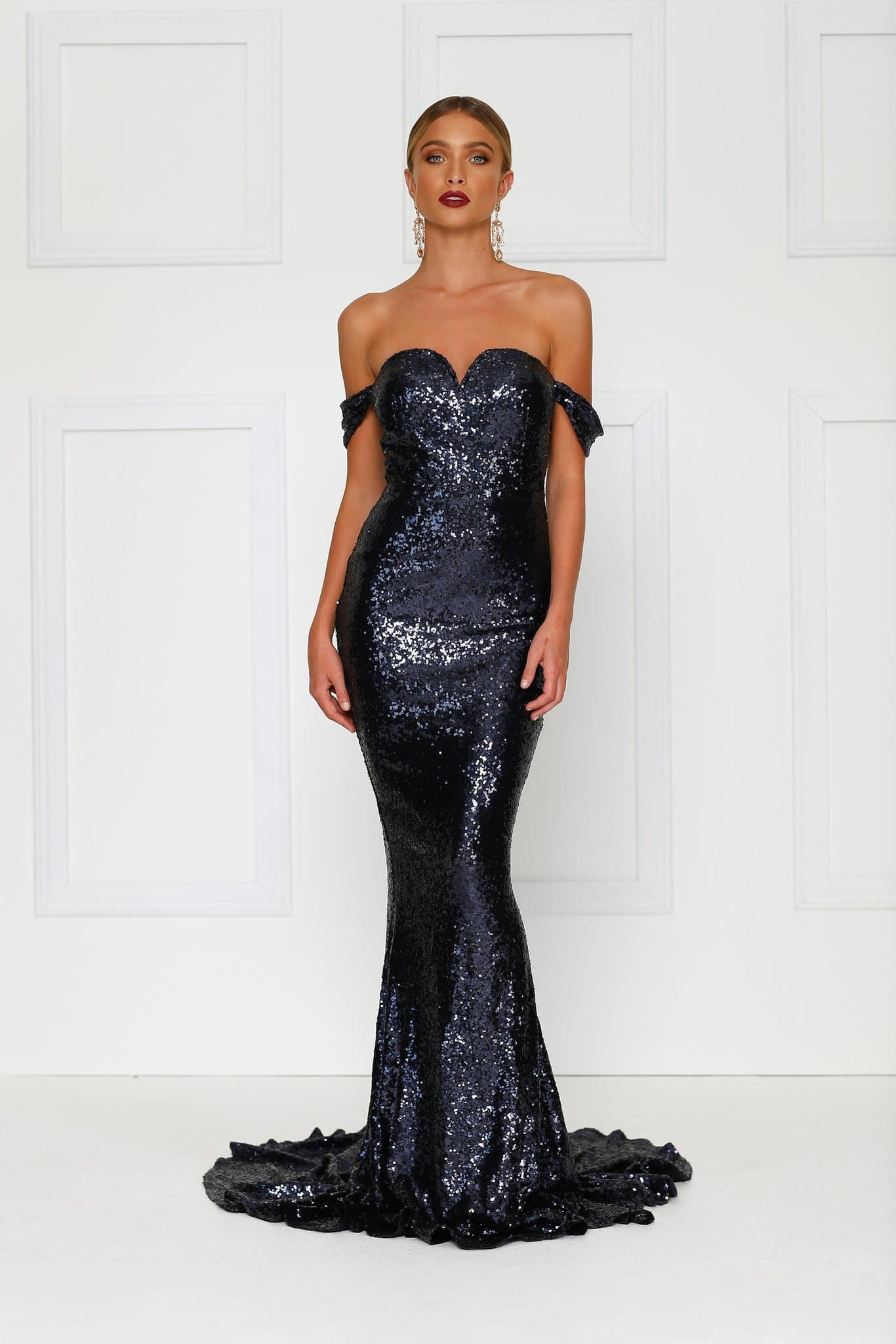 dd0df4dd81a1 Jonquille - Navy Off Shoulder Sequin Dress with Sweetheart Neckline