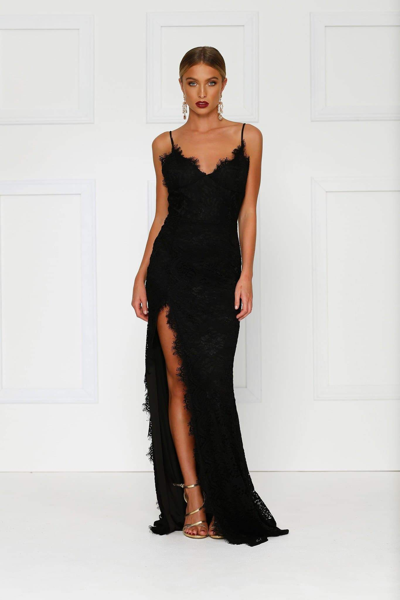 Layali Gown - Black Lace V Neck Low Back Side Slit Long Train Dress