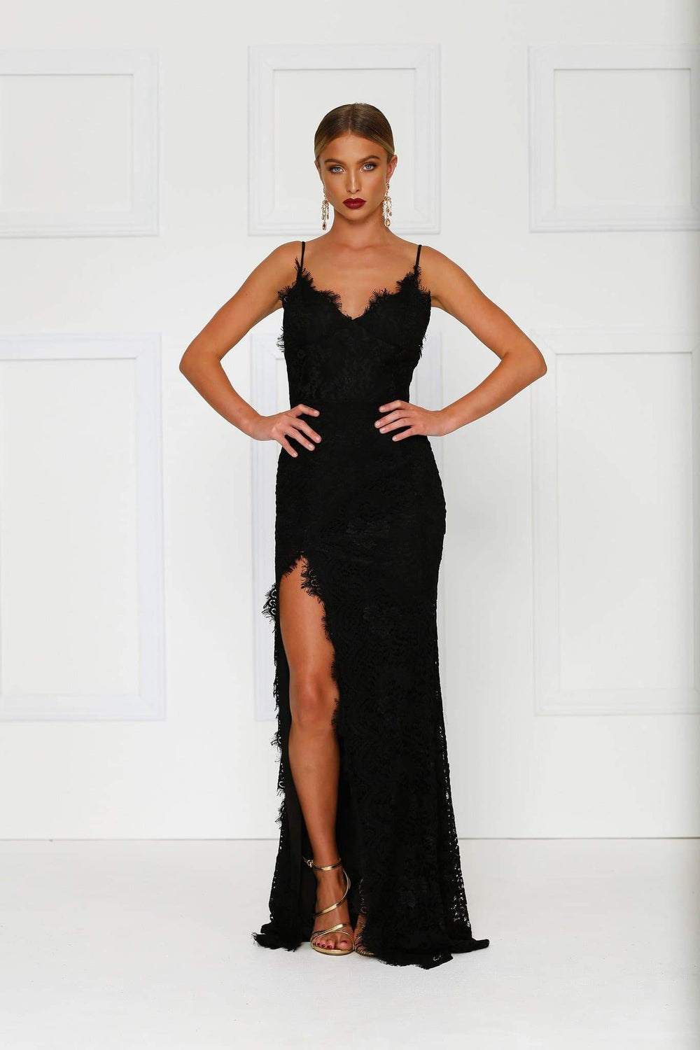 Layali - Black Lace Sleeveless Gown with V-Neckline & Side Slit